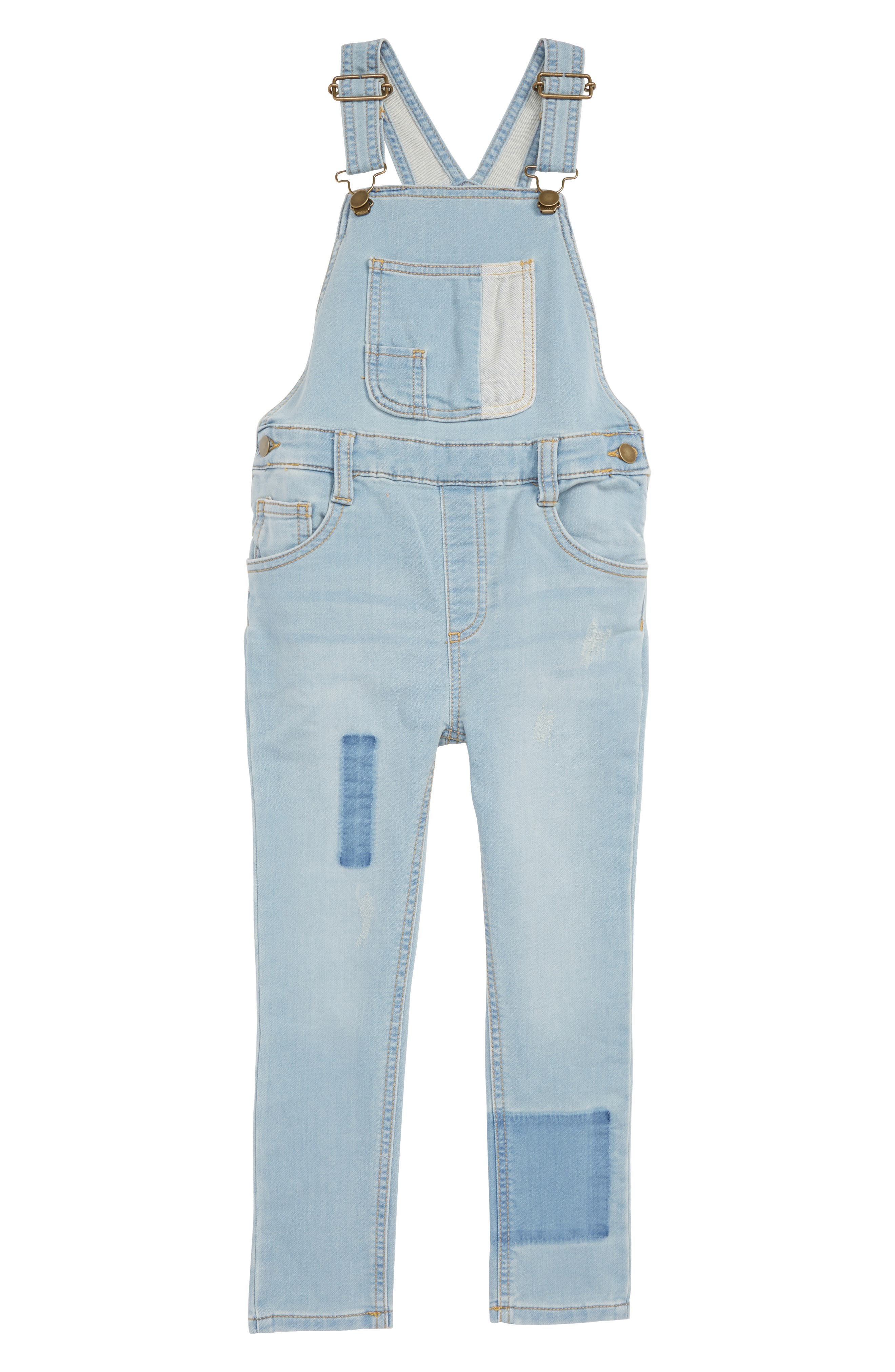 Distressed Denim Skinny Overalls,                             Main thumbnail 1, color,                             BLUE PATCH WASH