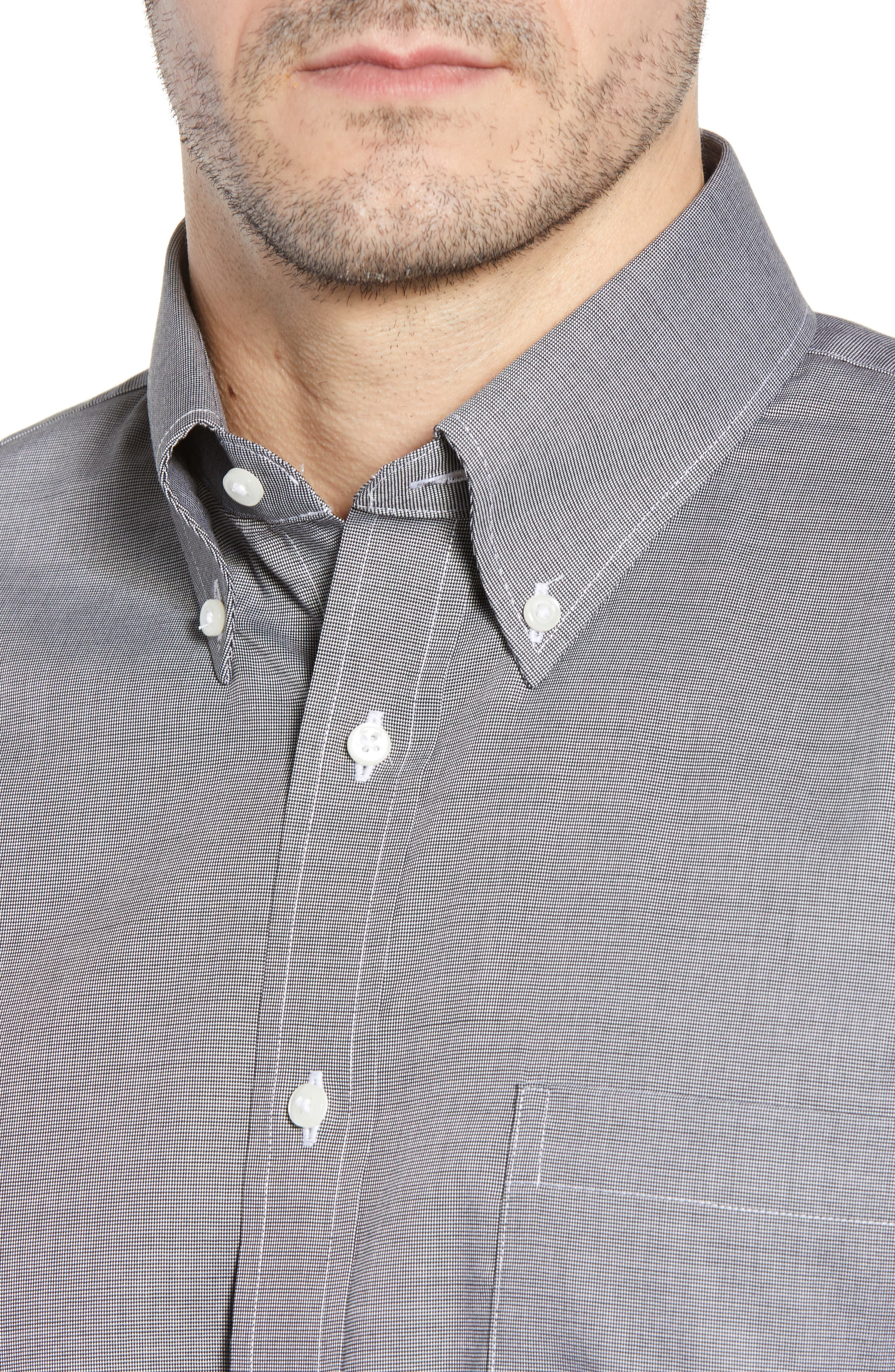Traditional Fit Non-Iron Solid Dress Shirt,                             Alternate thumbnail 3, color,                             BLACK ROCK