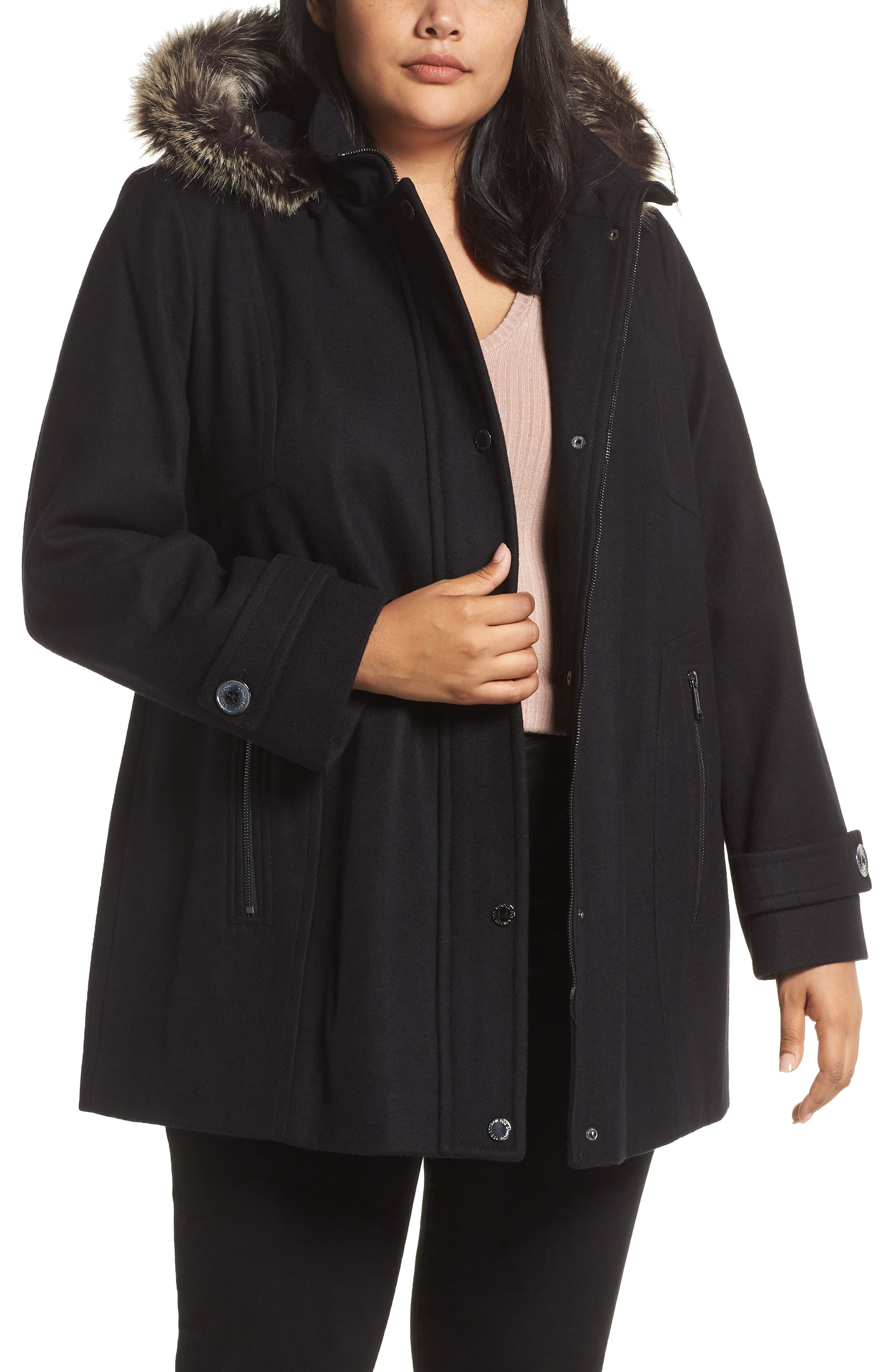 Hooded Wool Blend Coat with Faux Fur Trim,                             Main thumbnail 1, color,                             BLACK