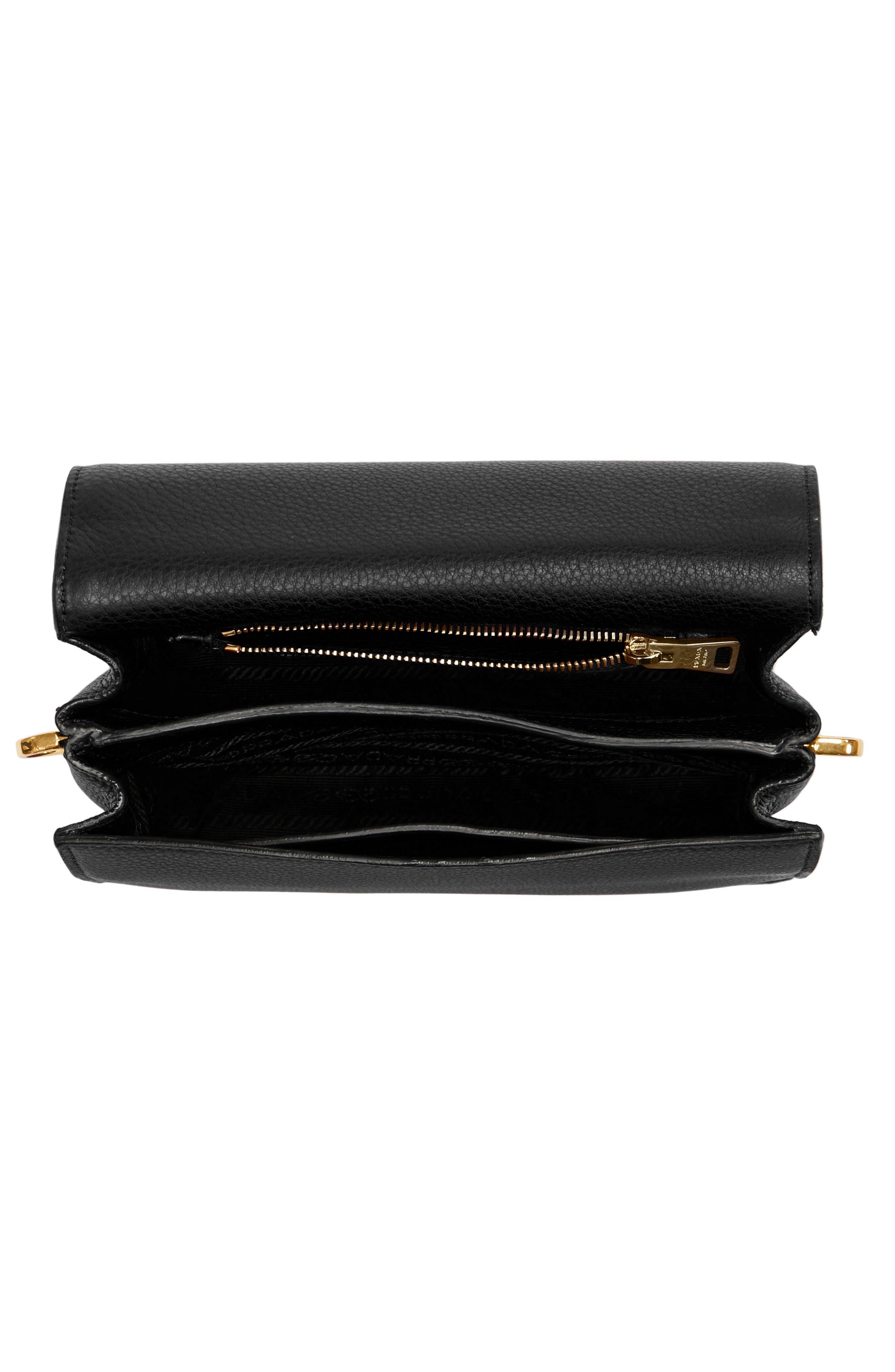 Vitello Daino Double Compartment Leather Shoulder Bag,                             Alternate thumbnail 4, color,                             001