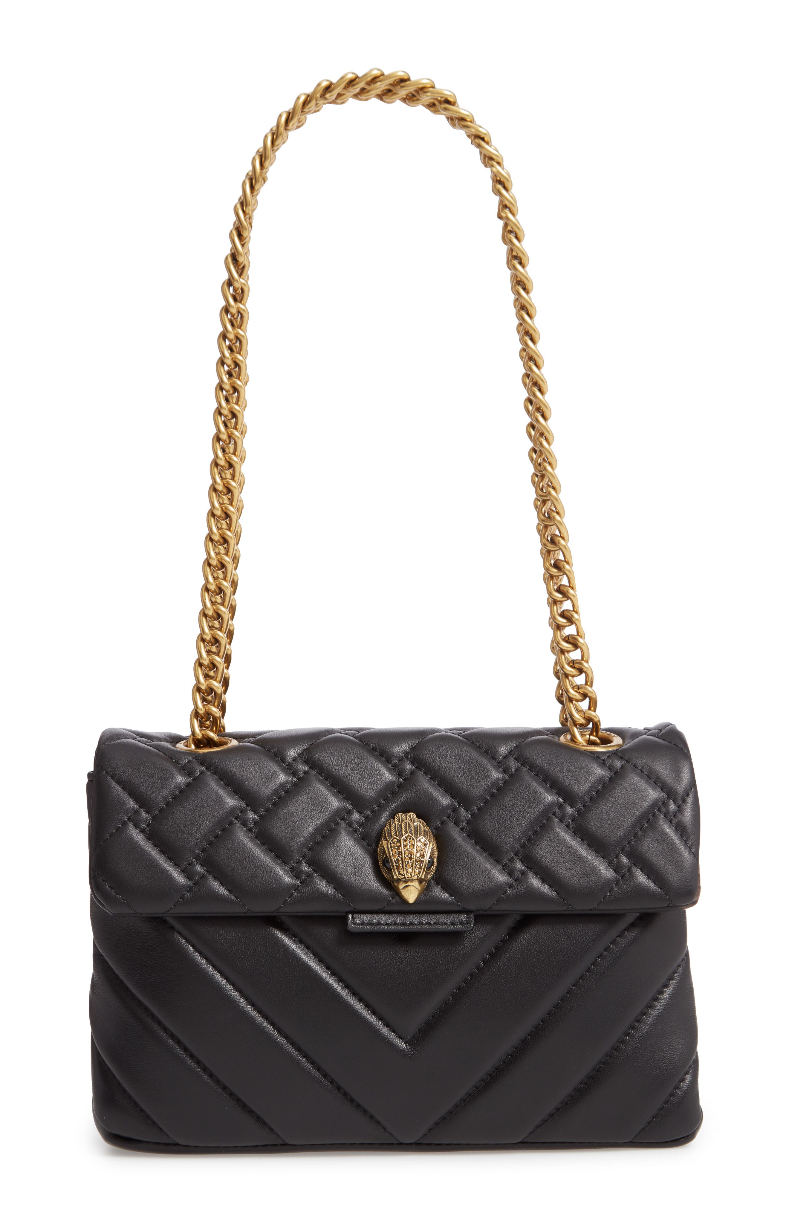 KURT GEIGER LONDON Kensington Quilted Leather Shoulder Bag, Main, color, BLACK