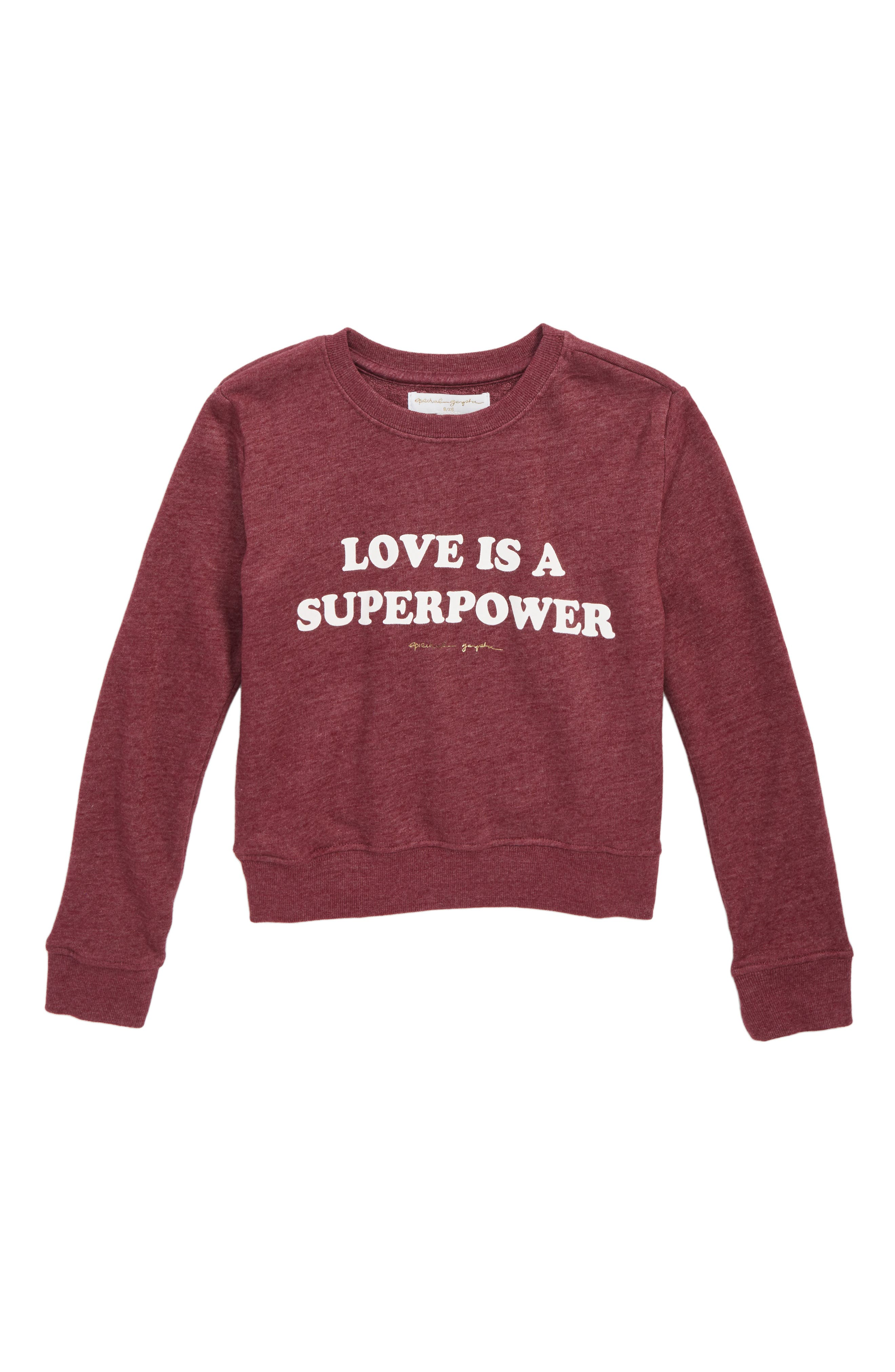 Superpower Crewneck Sweater,                             Main thumbnail 1, color,                             AMOR