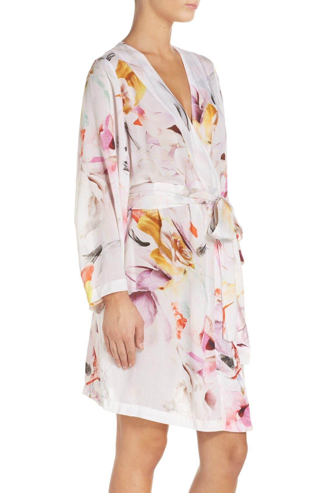 Floral Print Kimono Robe,                             Alternate thumbnail 2, color,                             100