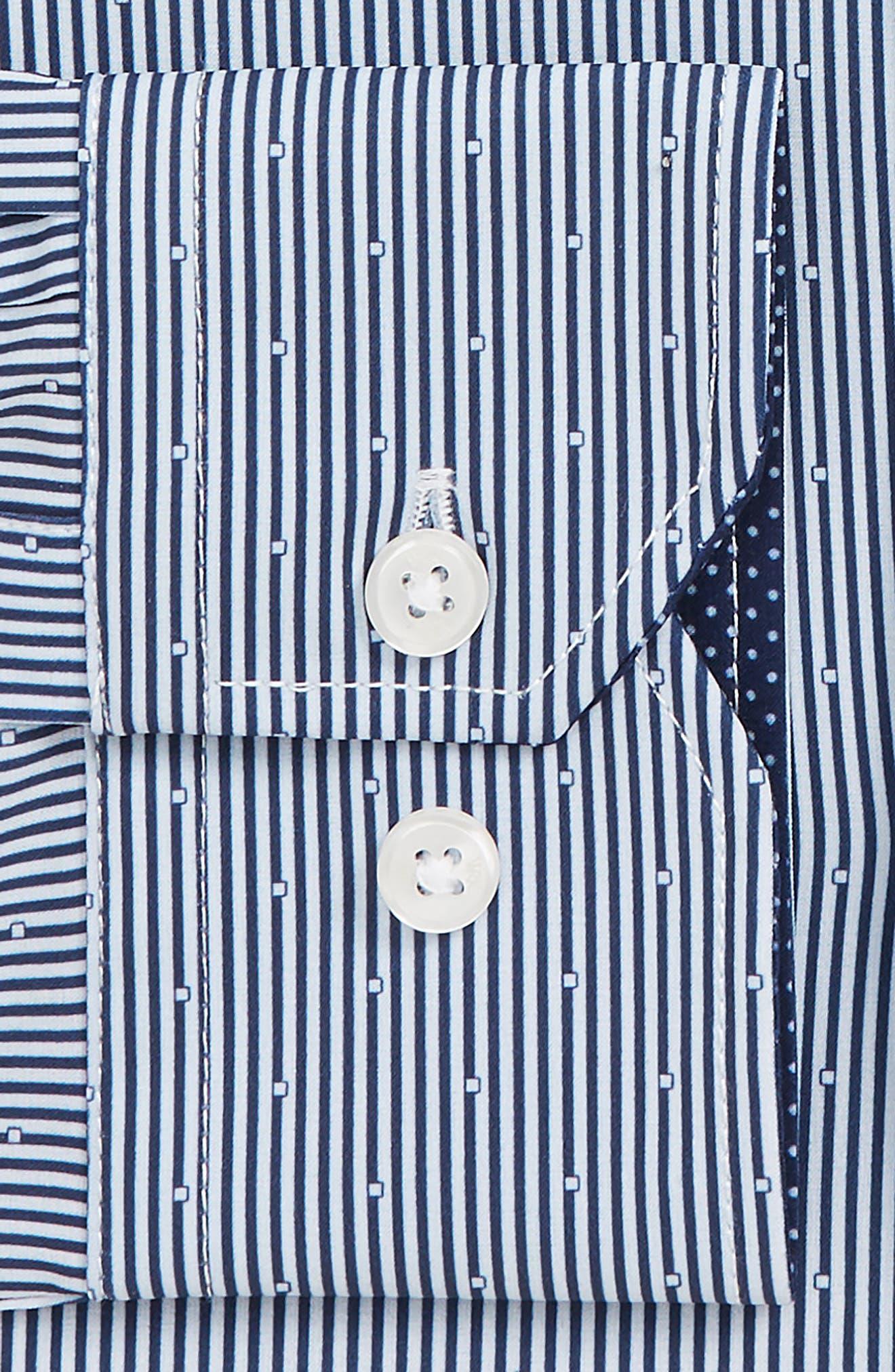 Trim Fit Stretch Stripe Dress Shirt,                             Alternate thumbnail 6, color,                             BLUE