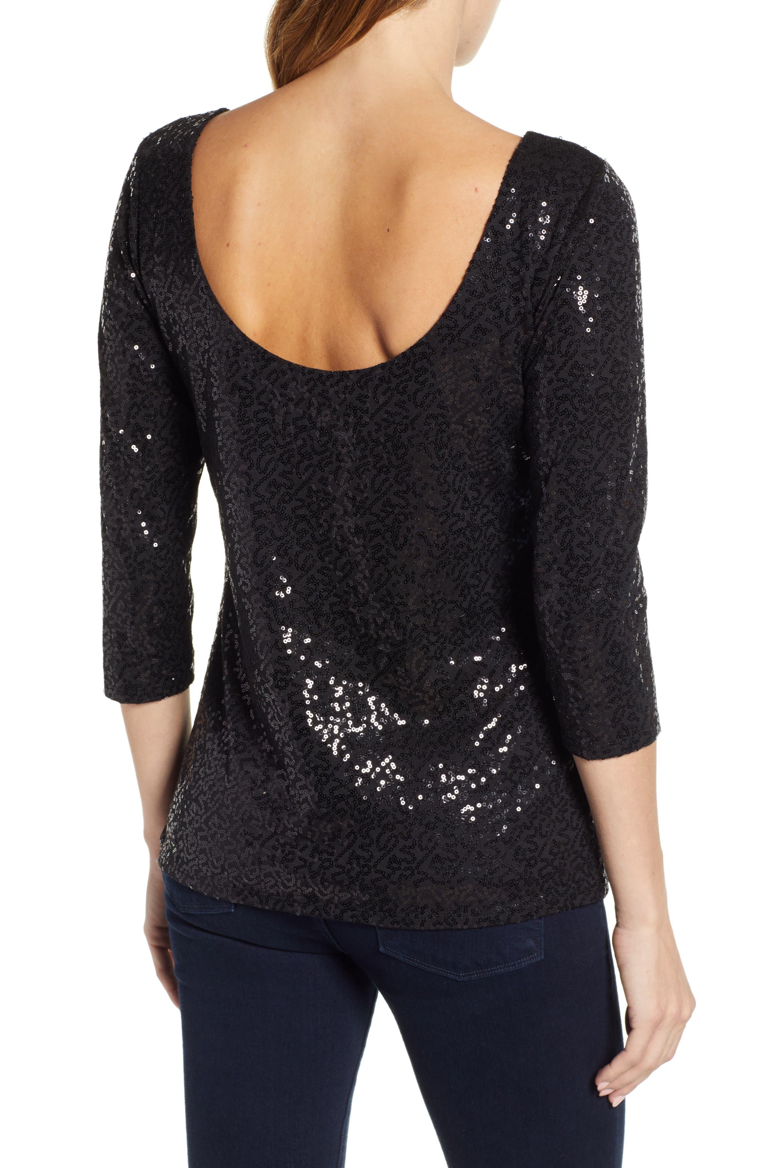 x Glam Squad Megan Sequin Embellished Scoop Back Top,                             Alternate thumbnail 3, color,                             BLACK