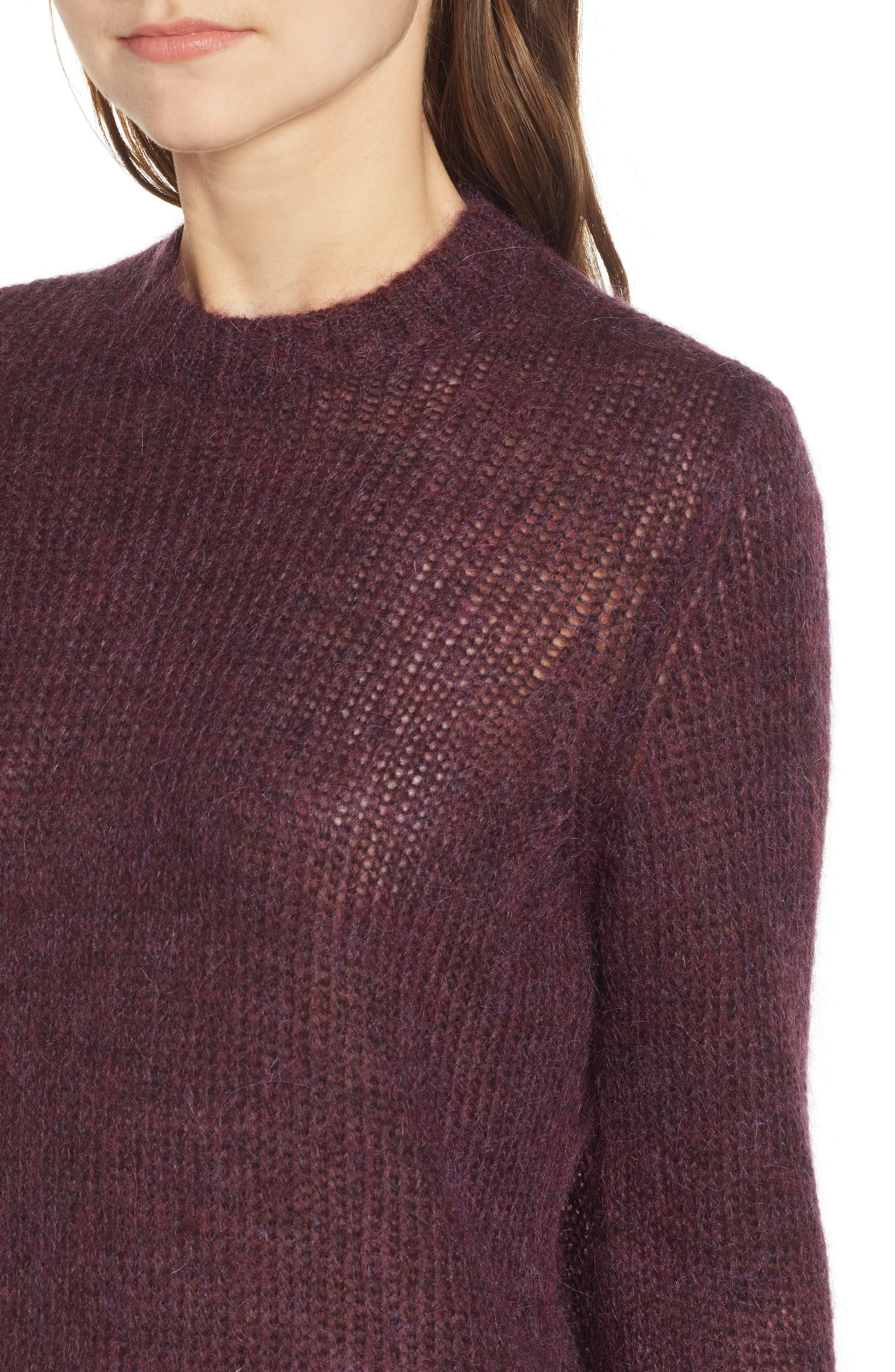Ansley Crewneck Sweater,                             Alternate thumbnail 4, color,                             RICH CARMINE