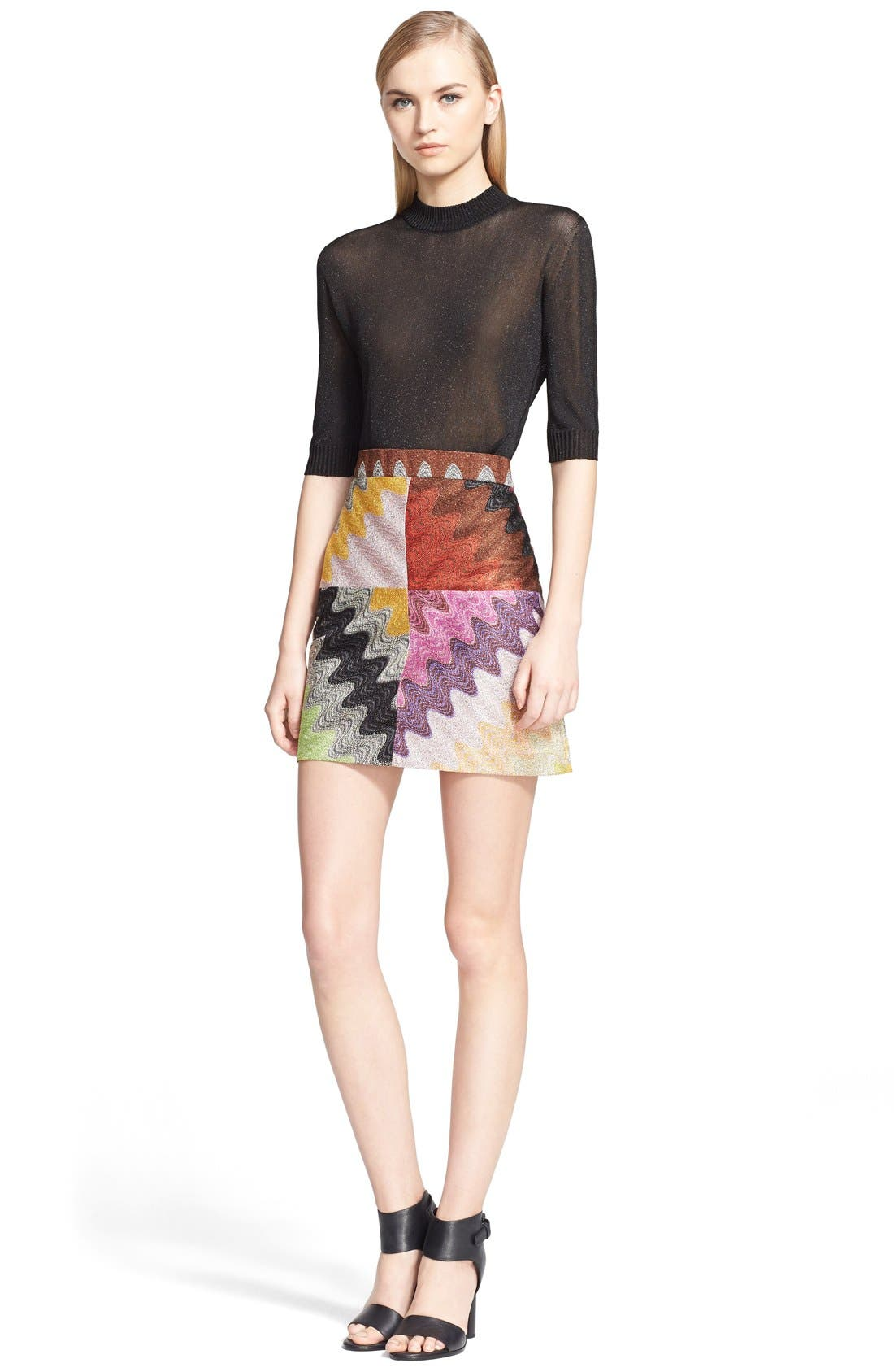 Multicolor Wave Stitch Miniskirt,                             Alternate thumbnail 3, color,