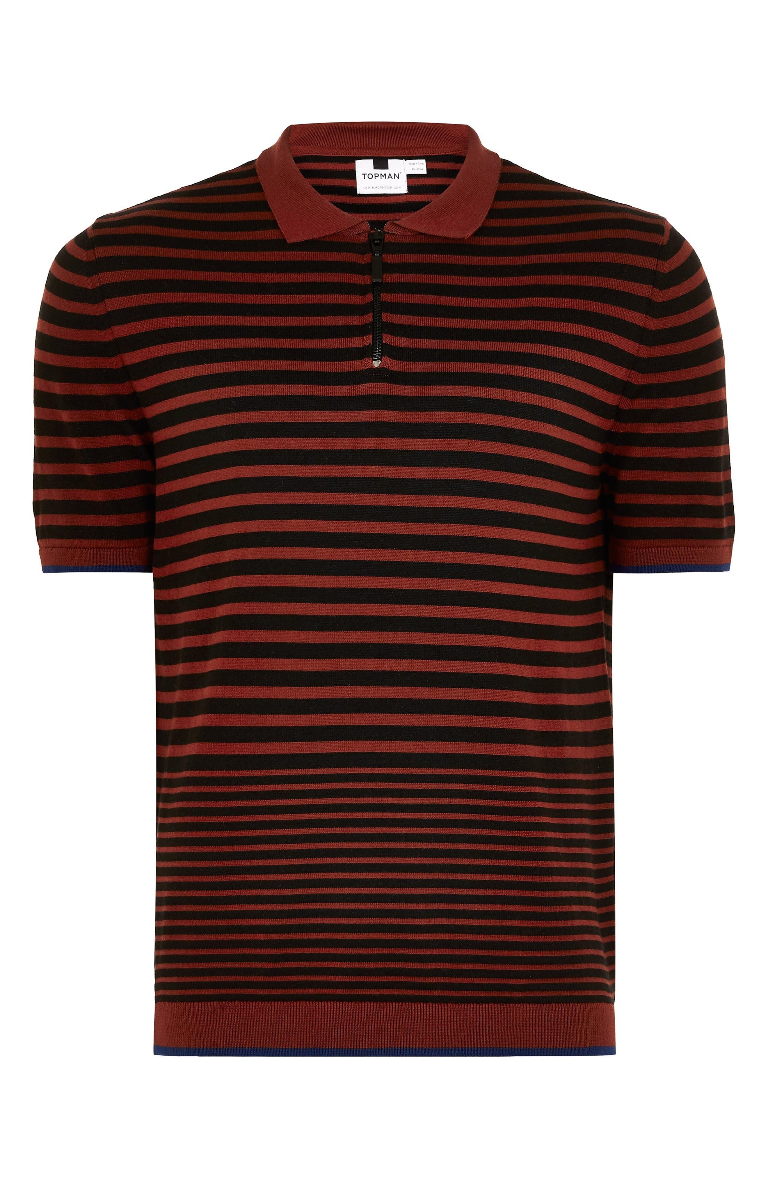 Stripe Classic Fit Polo,                             Alternate thumbnail 4, color,                             BROWN MULTI