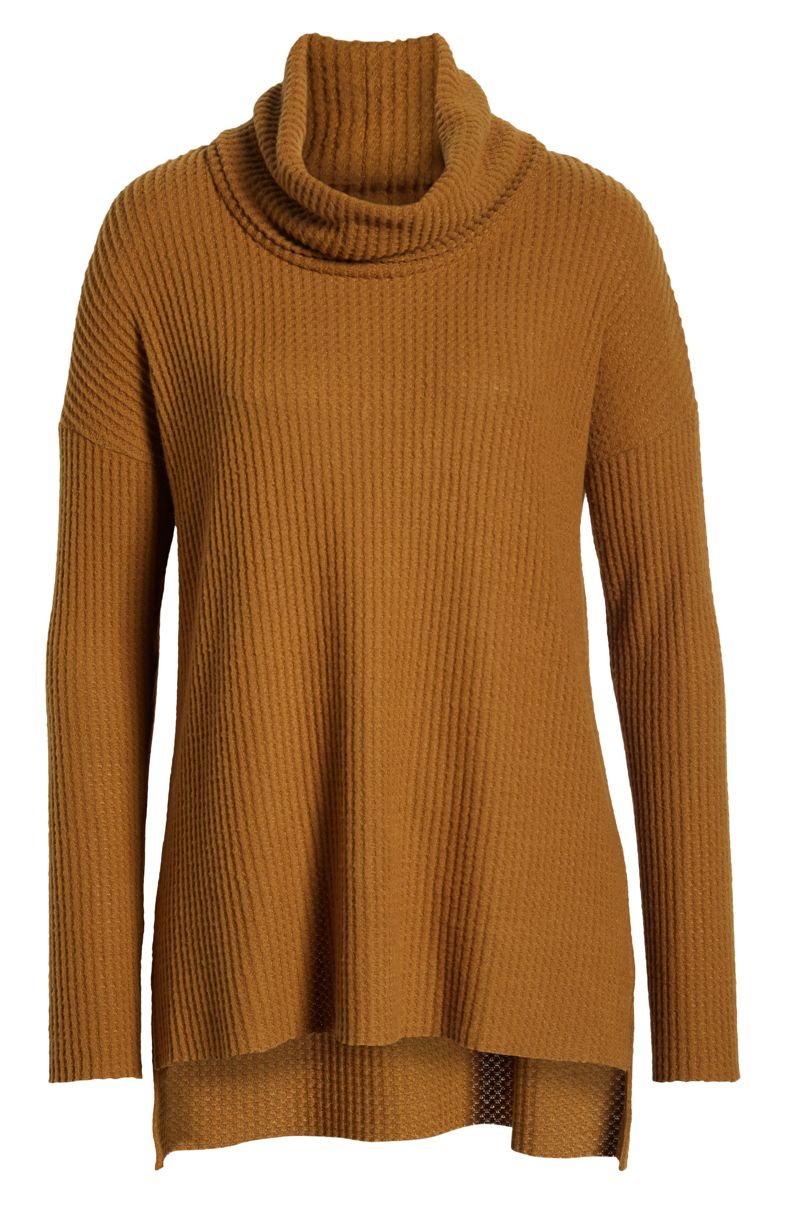 Funnel Neck Tunic,                             Alternate thumbnail 6, color,                             BROWN BRONZE