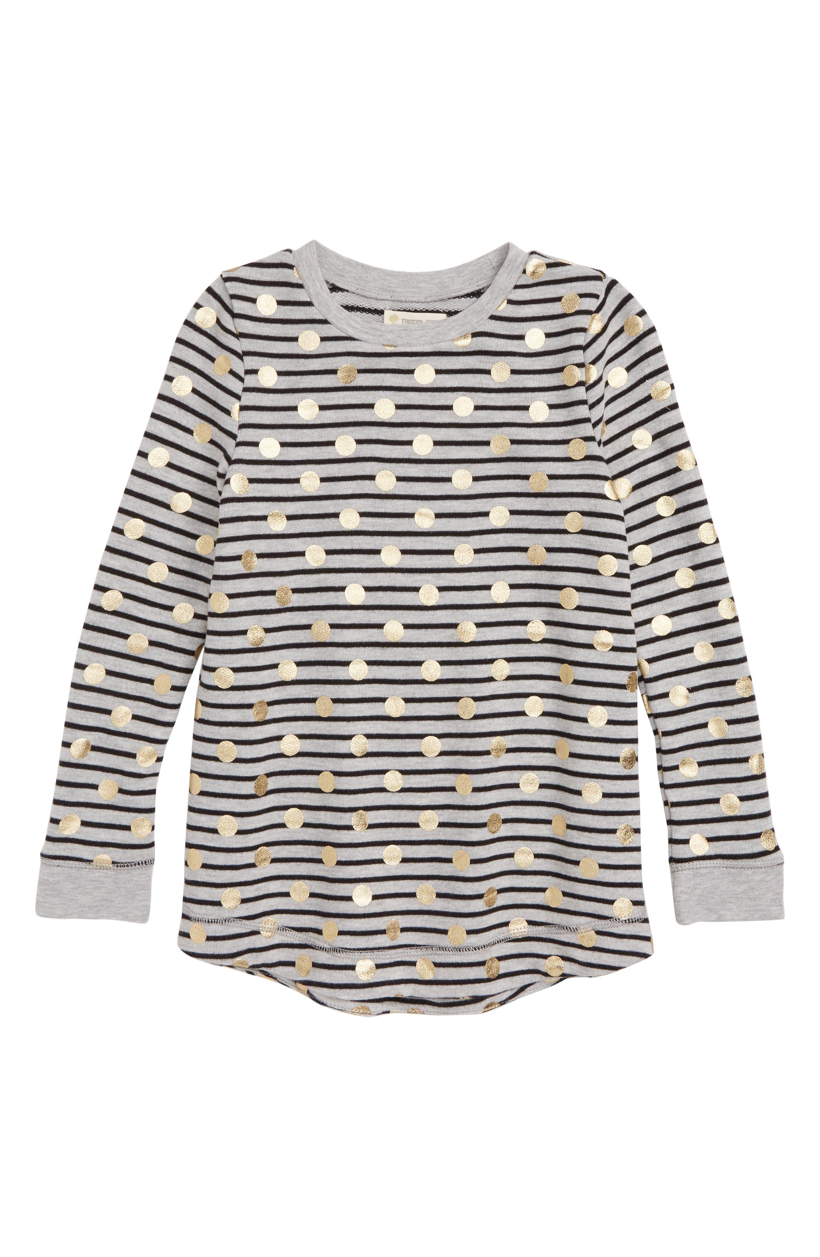 Stripe Print Tunic,                         Main,                         color, GREY ASH HEATHER DOT
