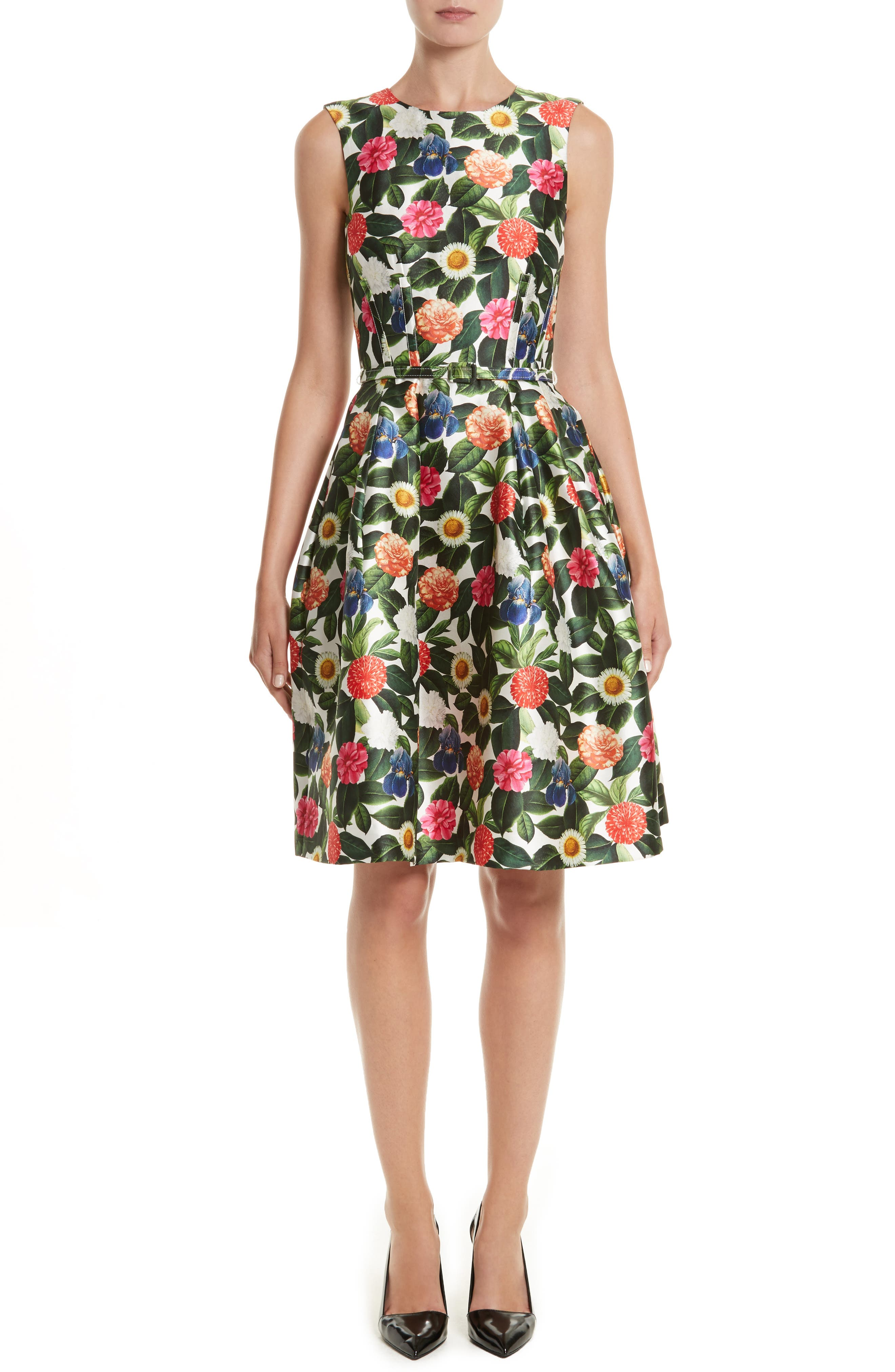 Floral Silk Mikado Fit & Flare Dress,                         Main,                         color,