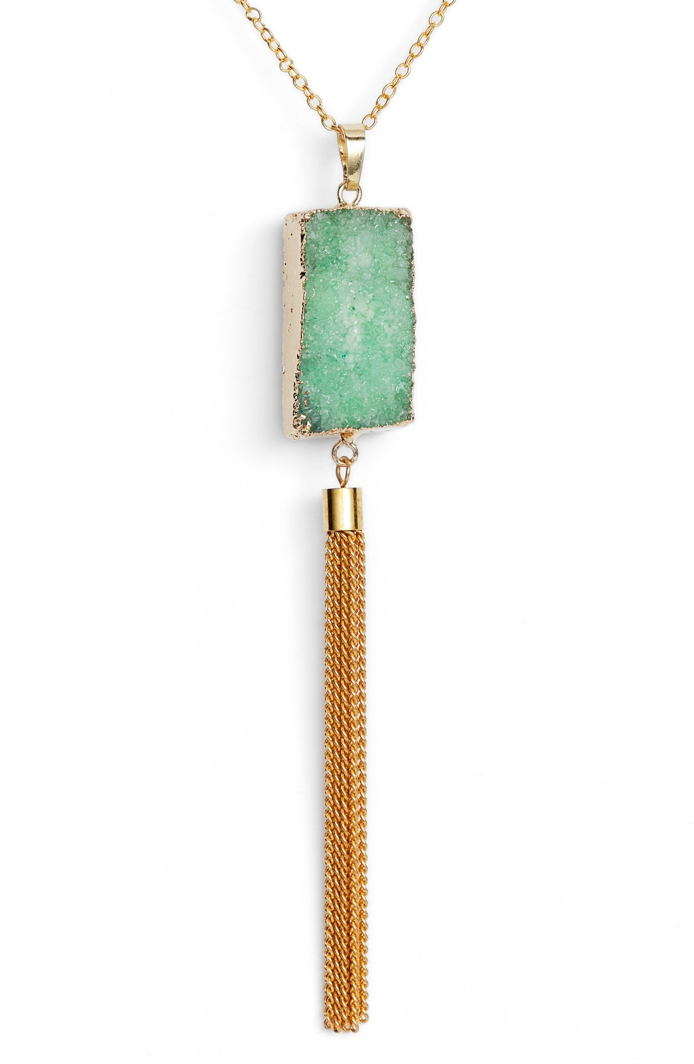 Carmela Drusy Pendant Necklace,                             Alternate thumbnail 2, color,                             EMERALD