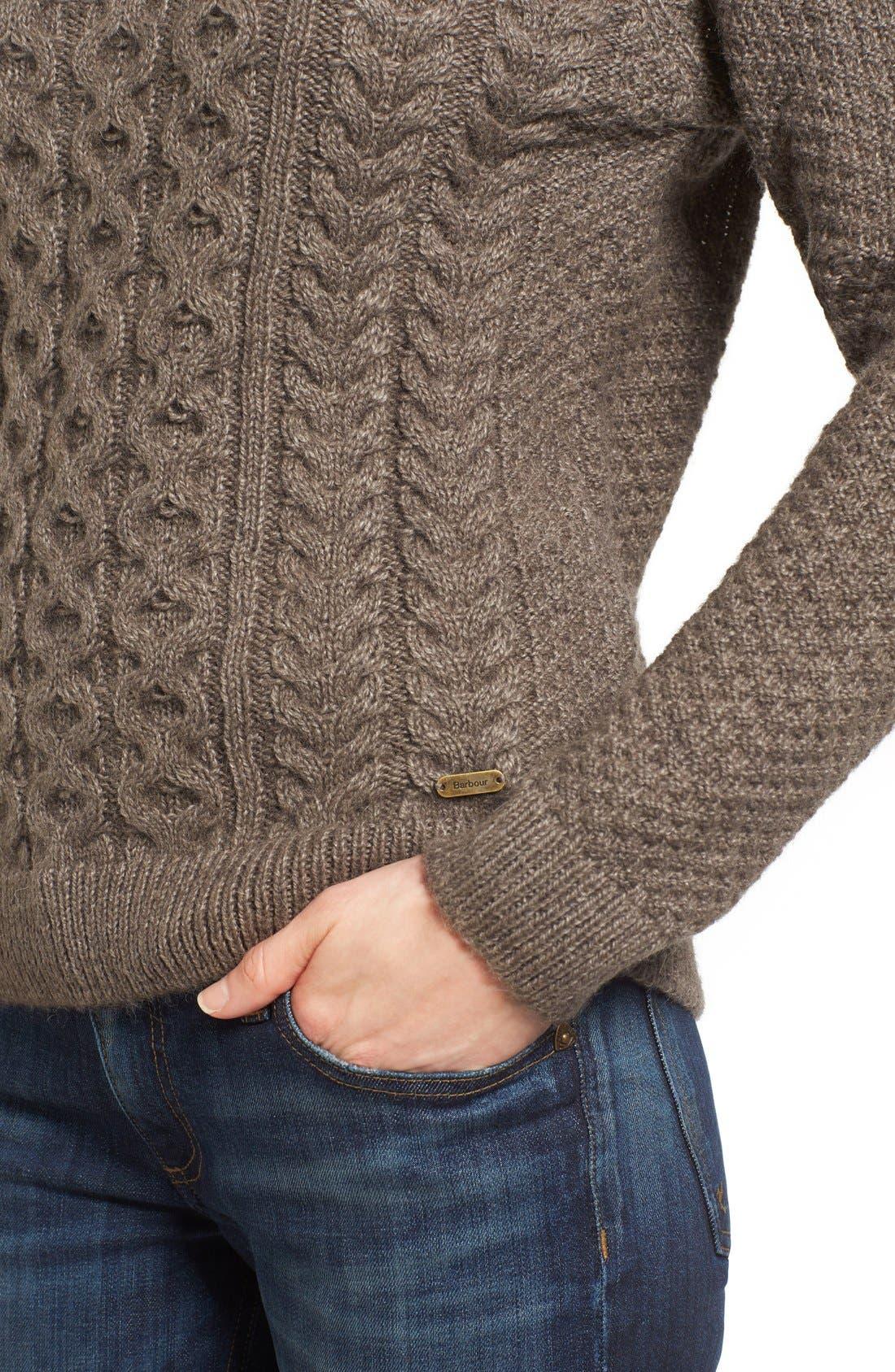 Cable Knit Crewneck Sweater,                             Alternate thumbnail 5, color,                             270