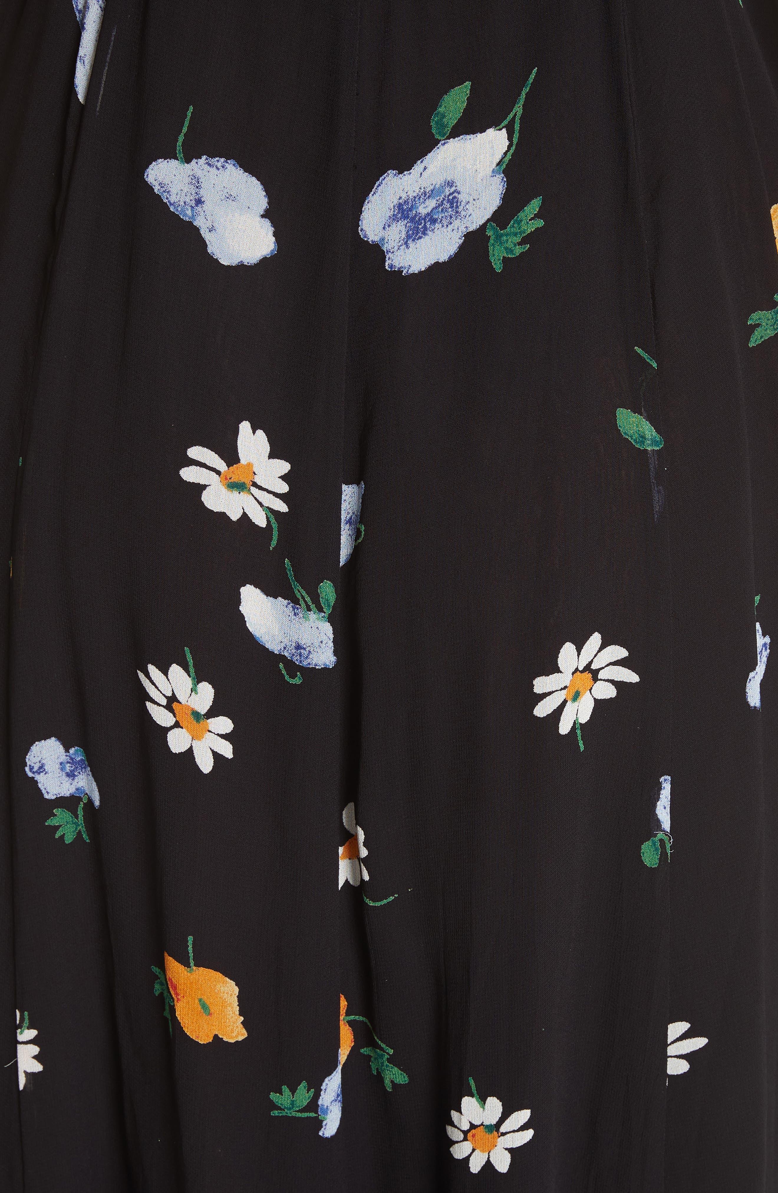 Dainty Georgette Strap Dress,                             Alternate thumbnail 6, color,                             BLACK
