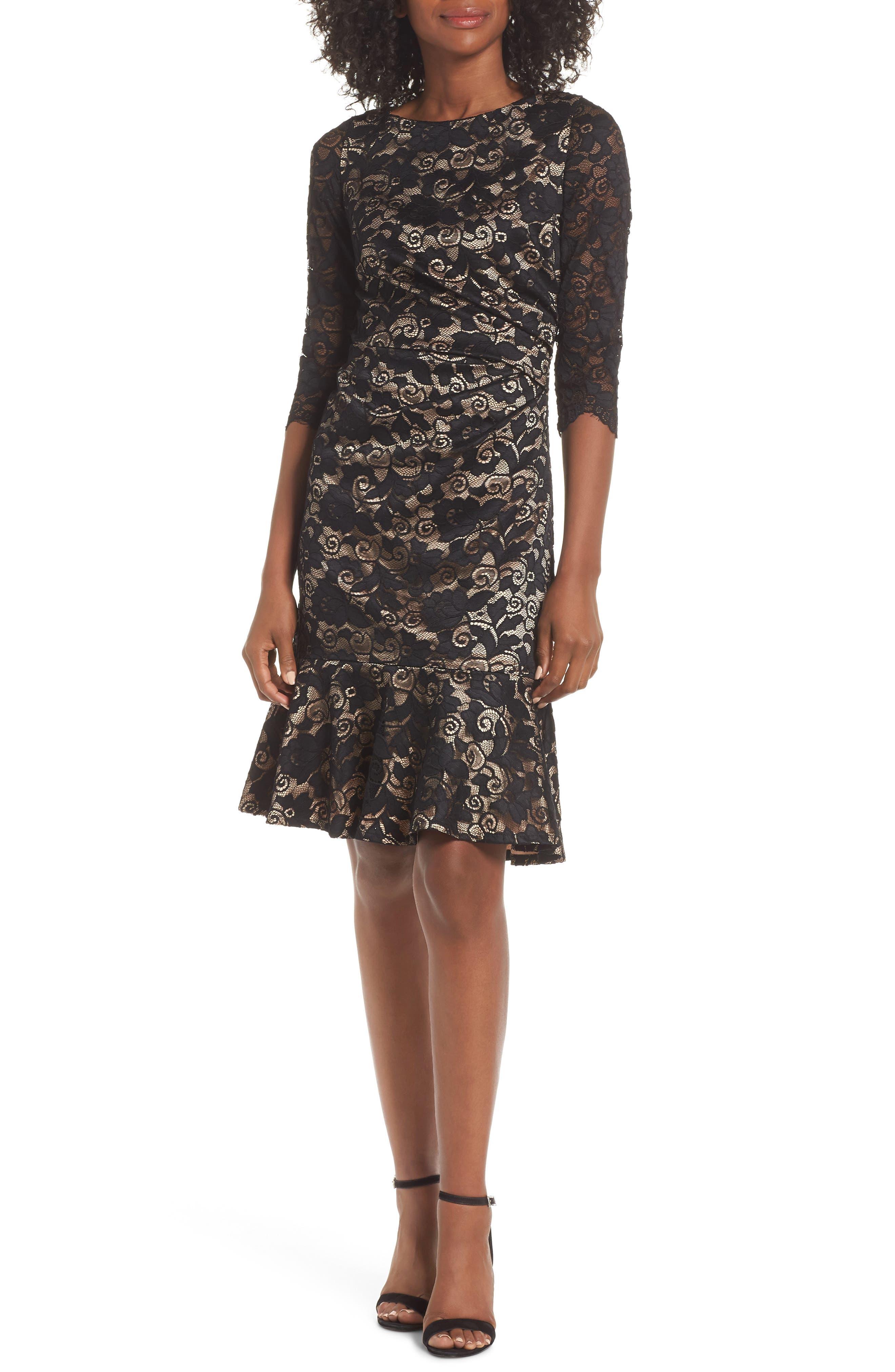 Eliza J Ruffle Hem Lace Sheath Dress