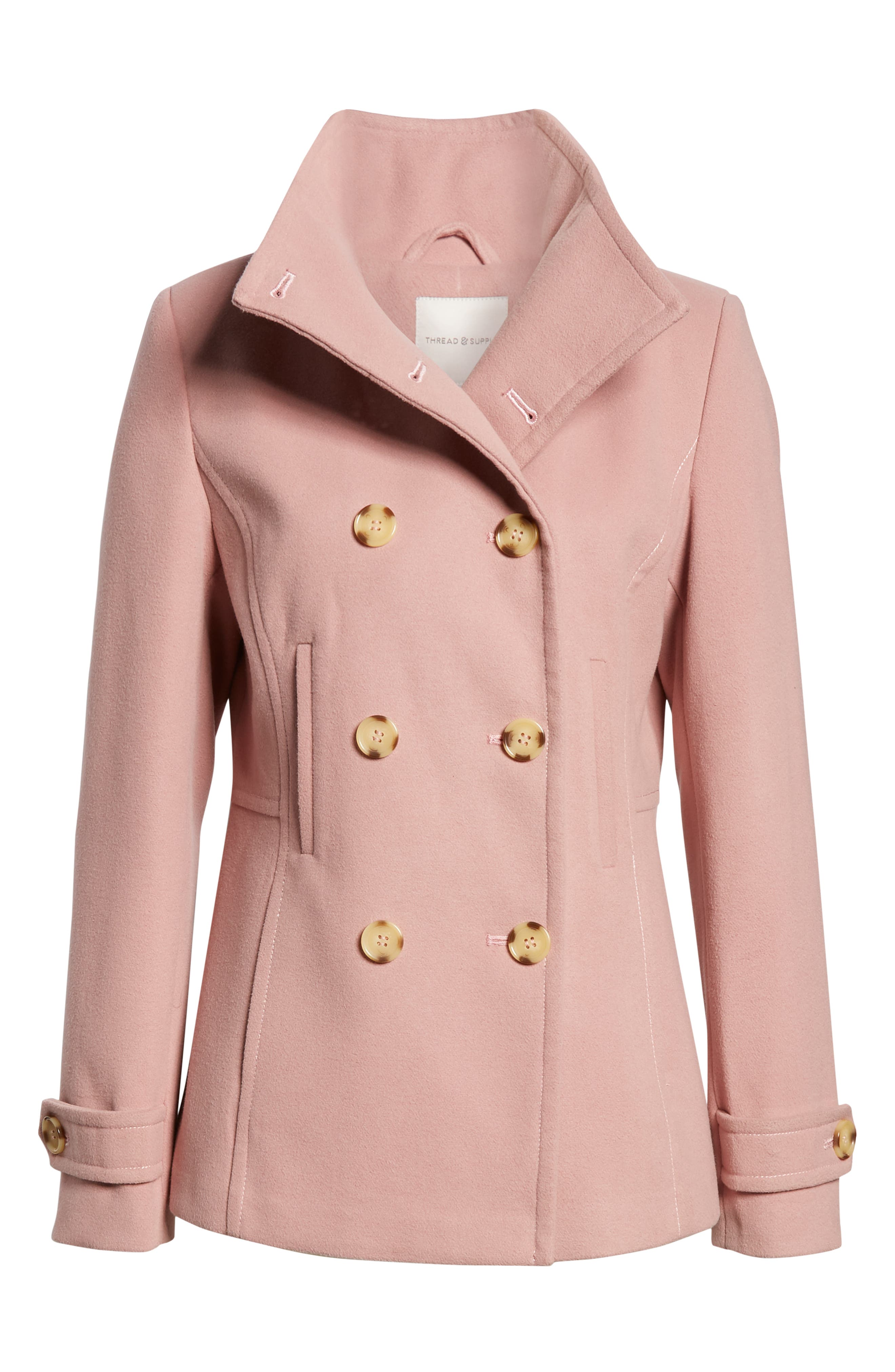 THREAD & SUPPLY,                             Double Breasted Peacoat,                             Alternate thumbnail 6, color,                             BLUSH