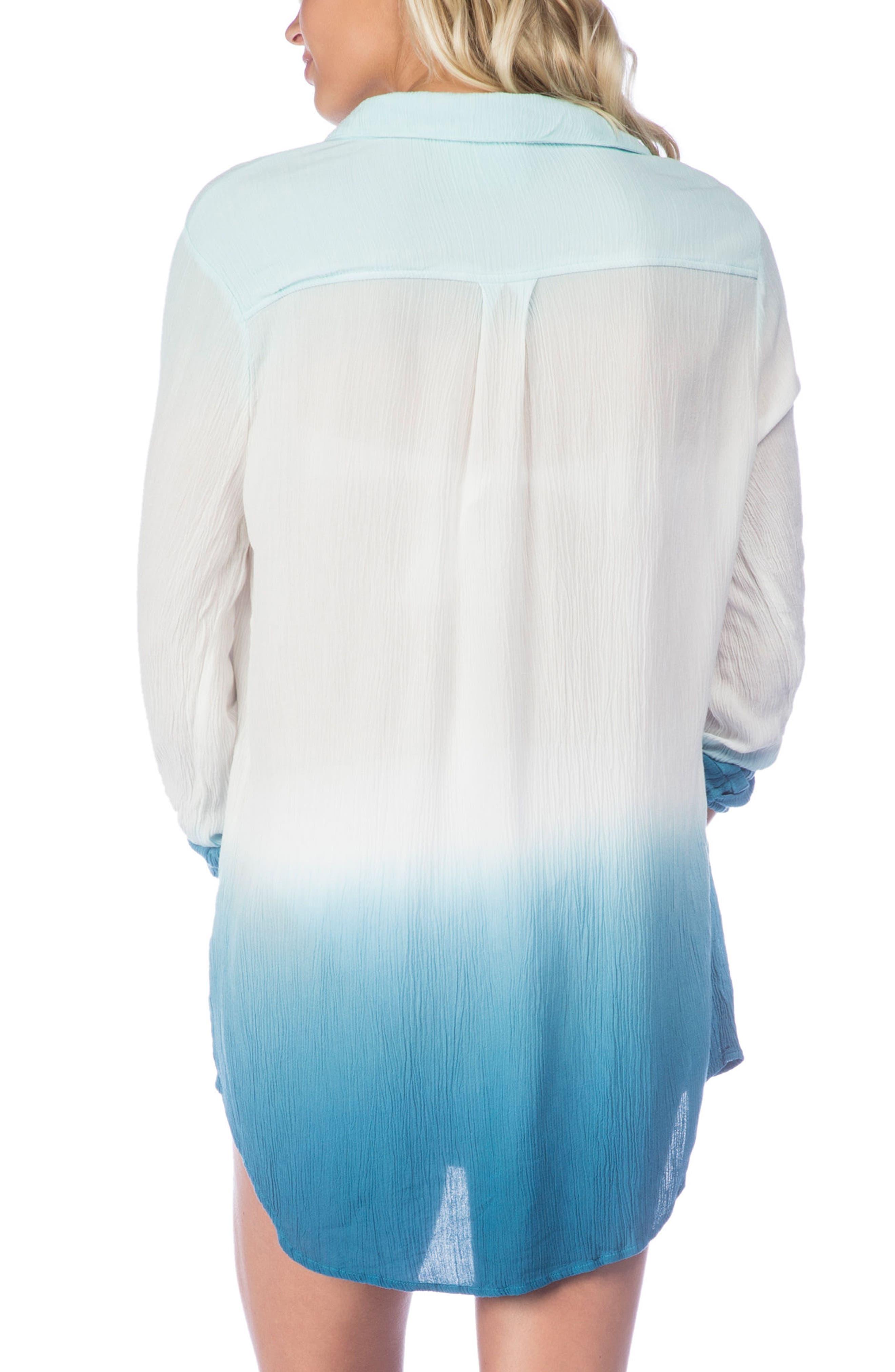 Big Sur Dip Dye Cover-Up Boyfriend Shirt,                             Alternate thumbnail 3, color,                             400