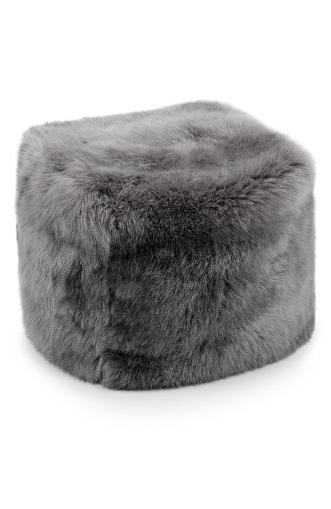 Genuine Shearling Pouf,                         Main,                         color, GREY