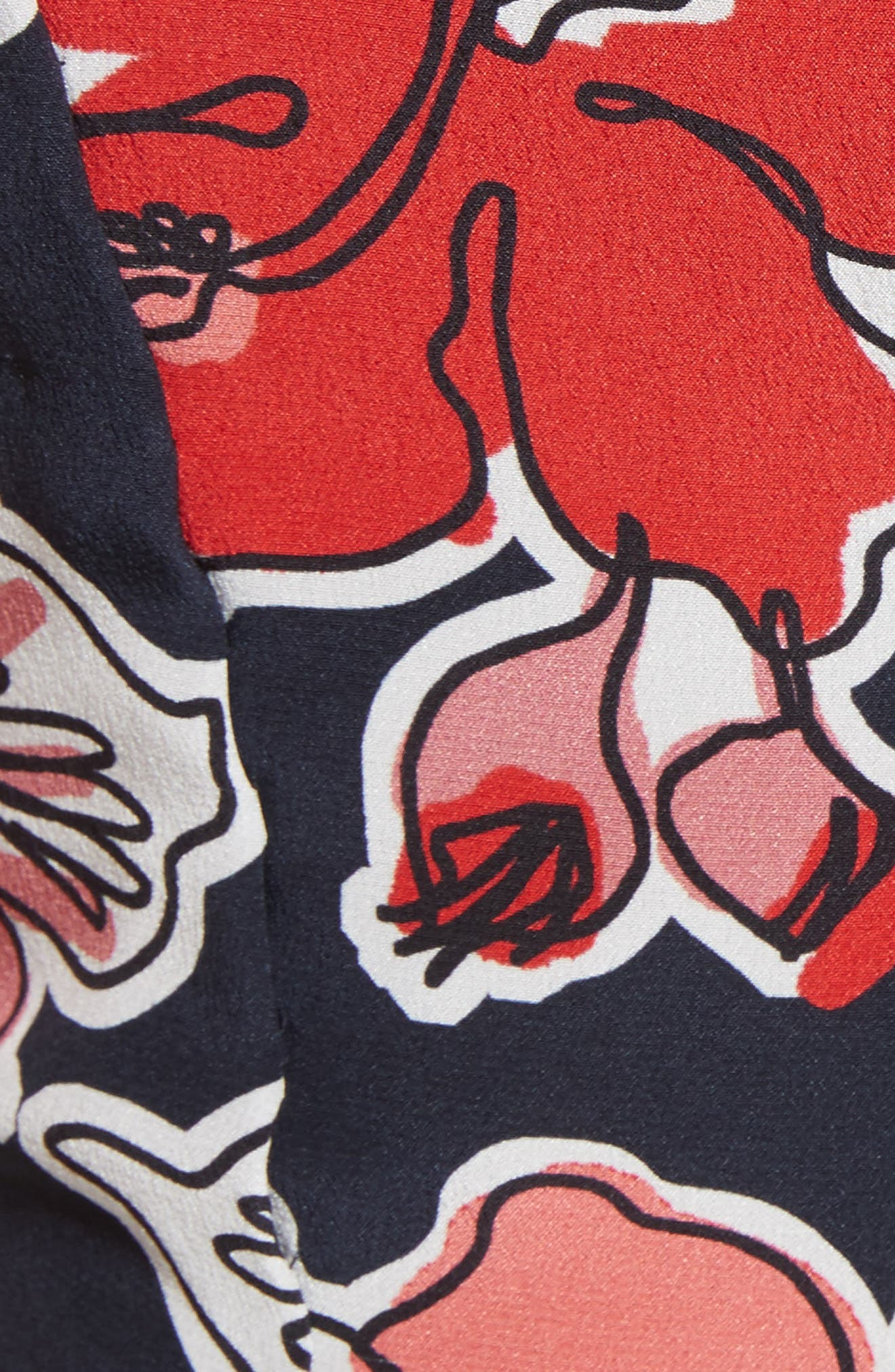Floral Print Silk Asymmetrical Dress,                             Alternate thumbnail 5, color,                             493