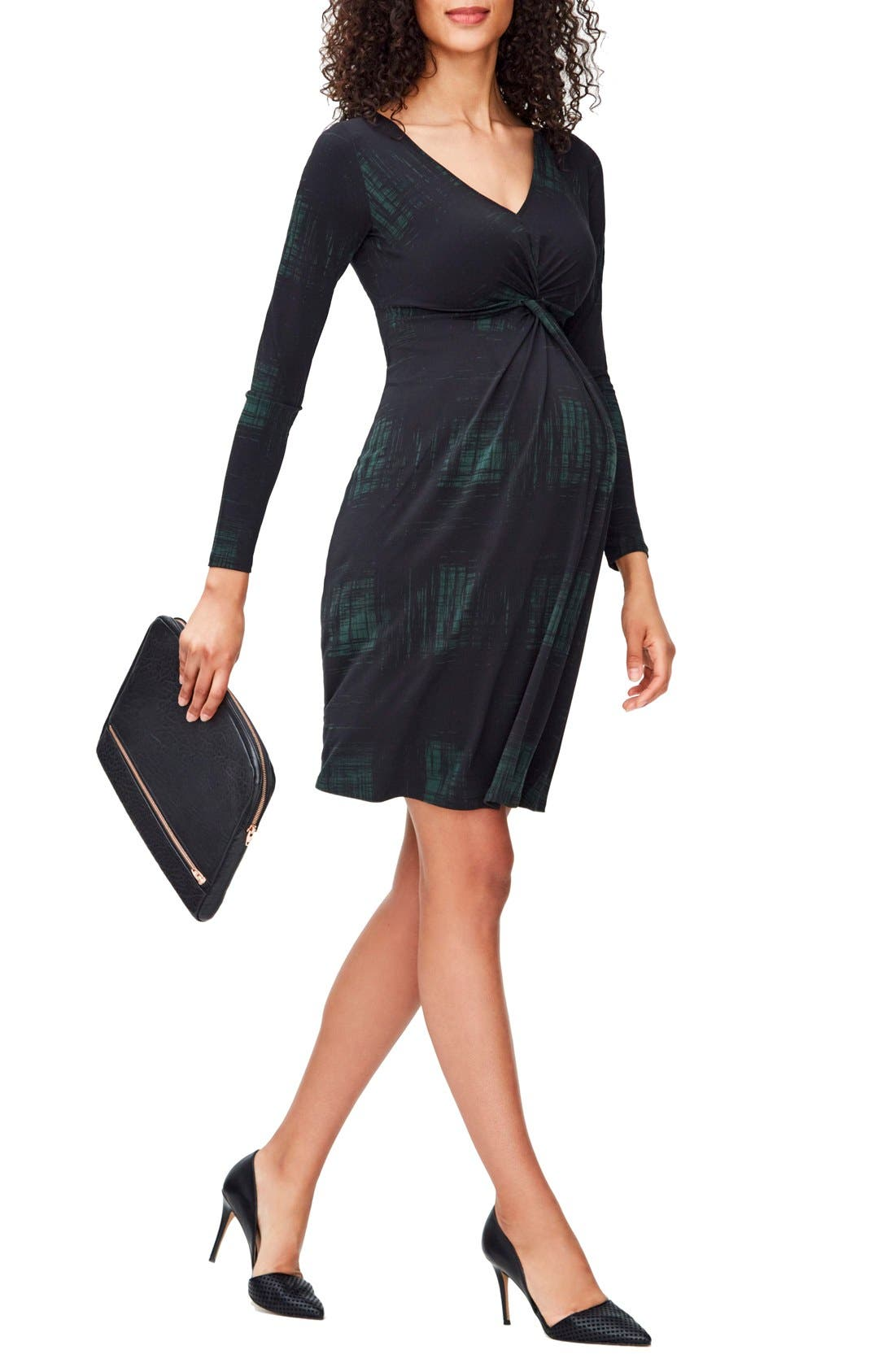 Print Knot Detail Jersey Dress,                         Main,                         color, RENDERED WINDOWPANE HUNTER