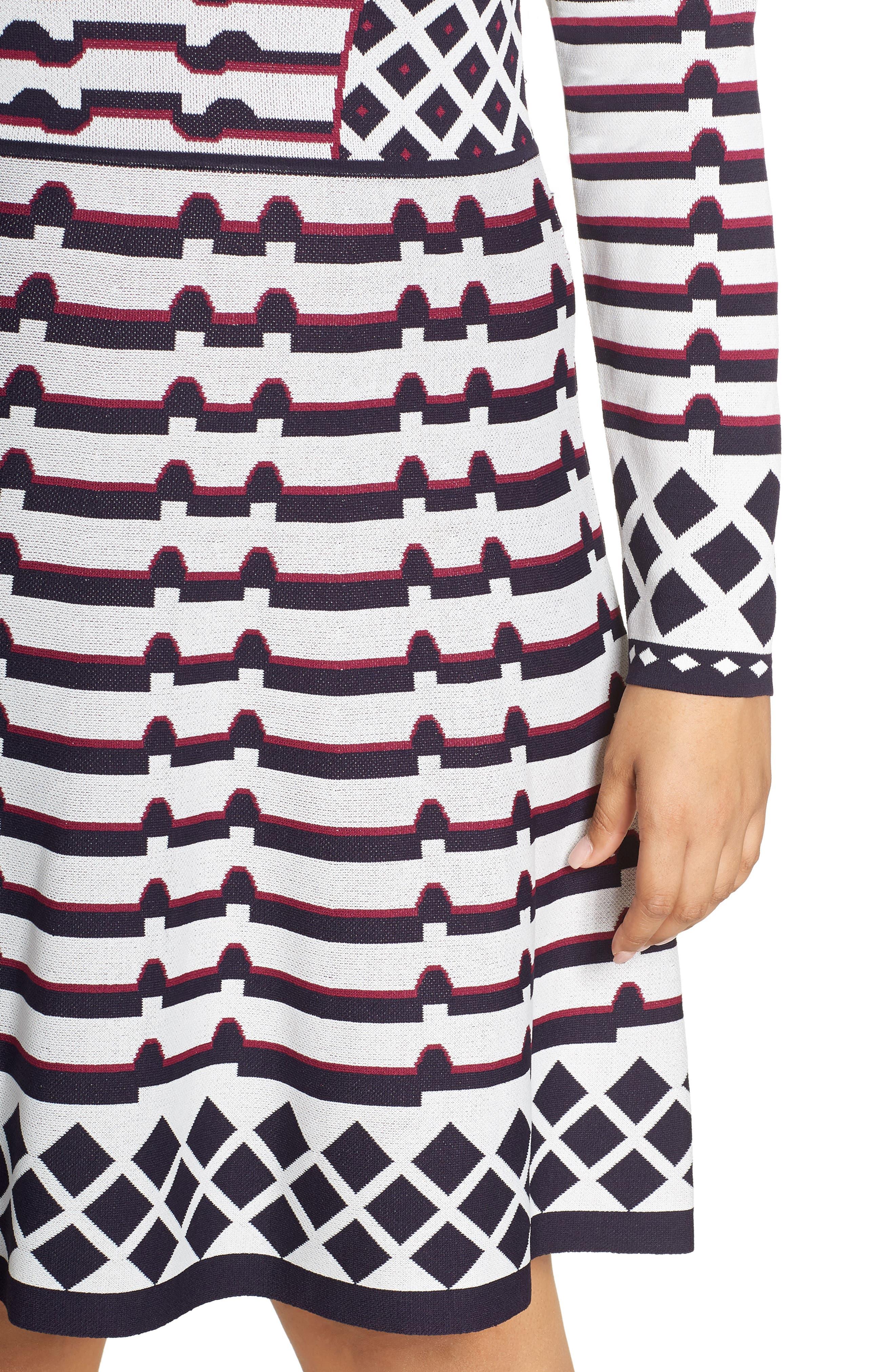 Artwork Jacquard Sweater Dress,                             Alternate thumbnail 4, color,                             NAVY