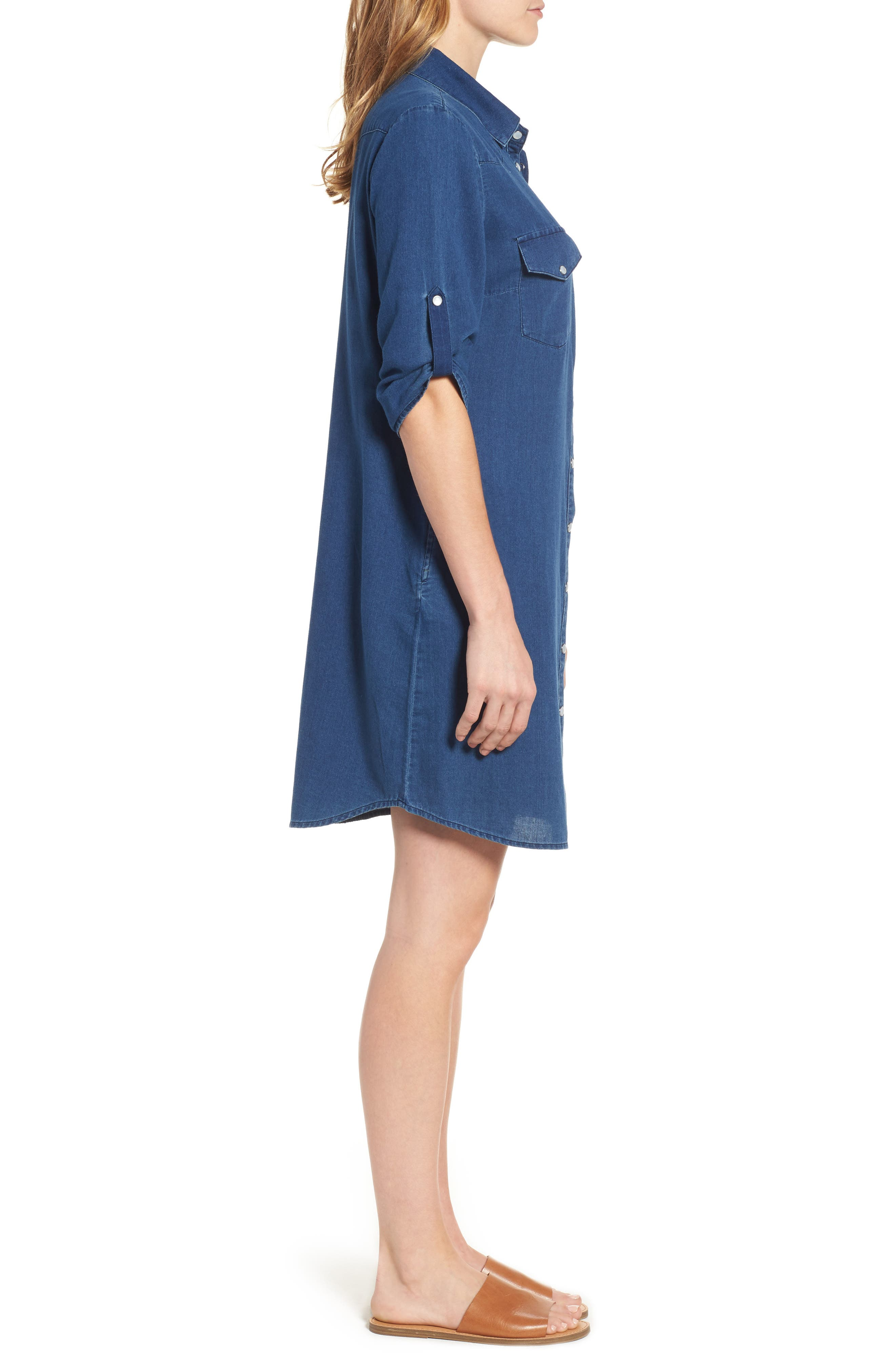 Denim Shirtdress,                             Alternate thumbnail 3, color,                             425