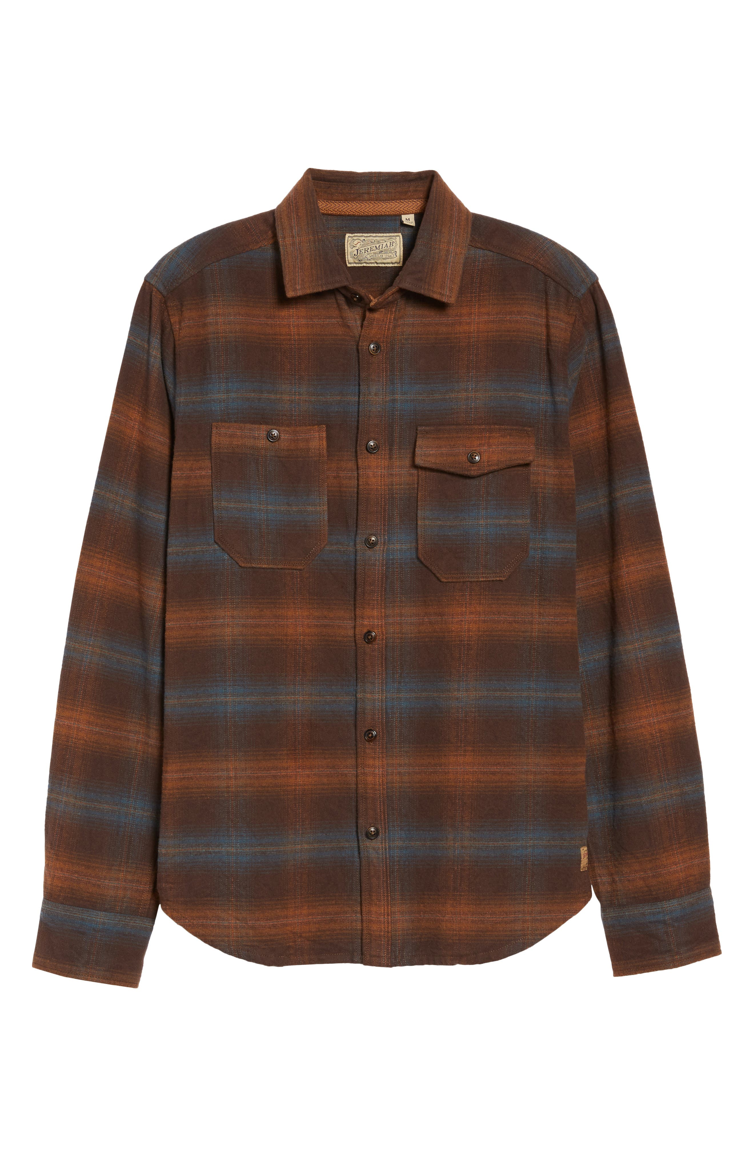 Canyon Plaid Brushed Twill Shirt,                             Alternate thumbnail 6, color,                             200