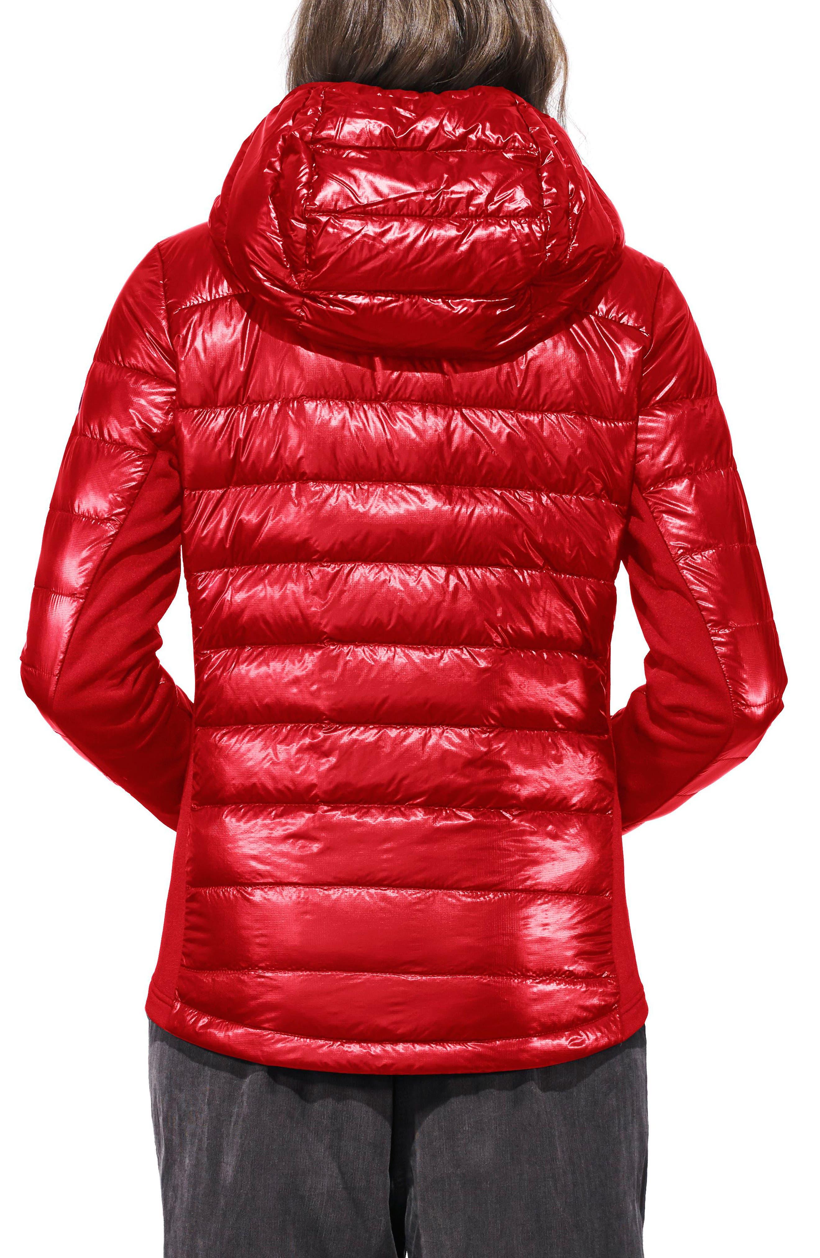 'Hybridge Lite' Slim Fit Hooded Packable Down Jacket,                             Alternate thumbnail 2, color,                             S RED/ L BLACK