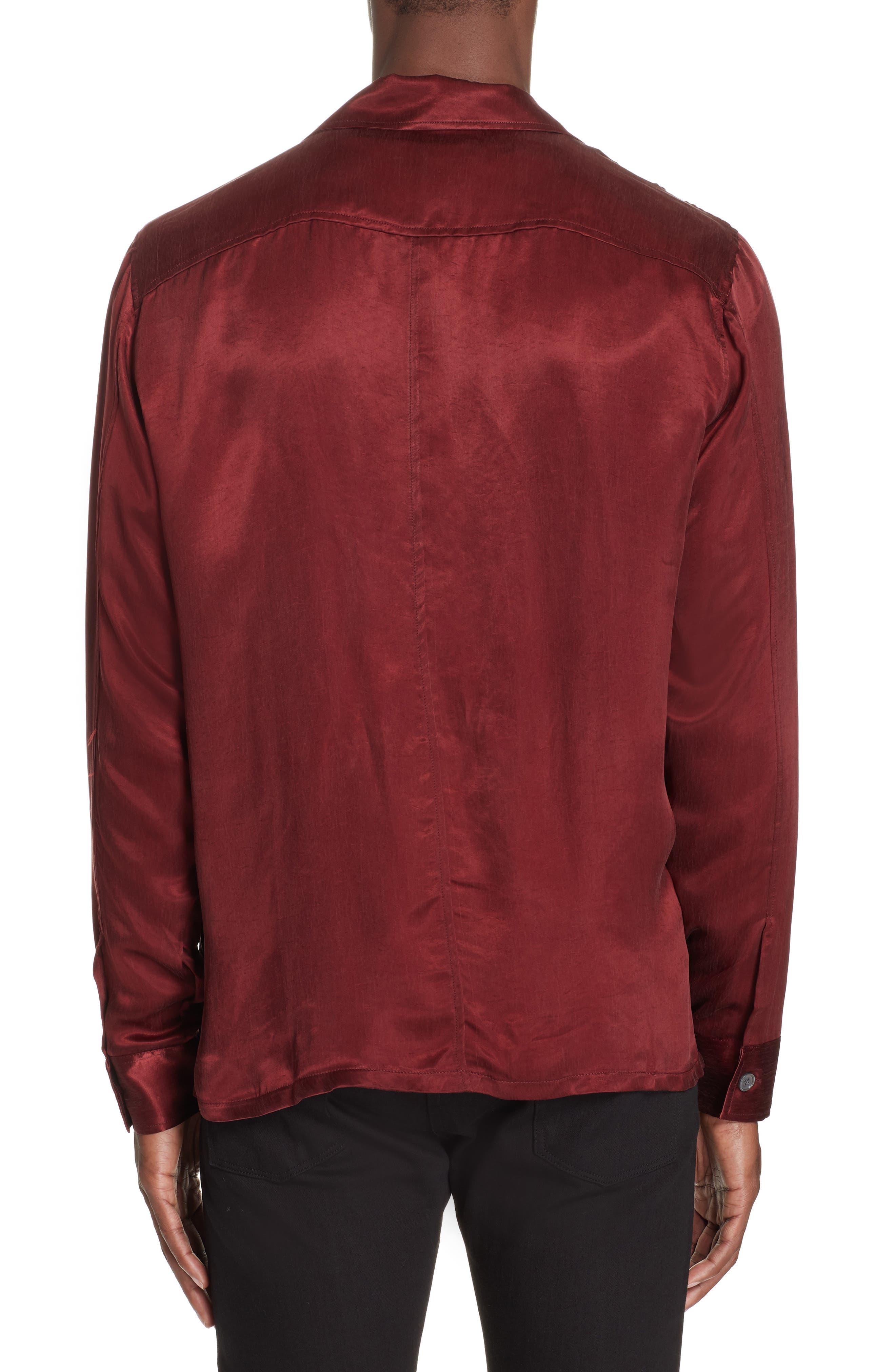 Long Sleeve Zip Shirt,                             Alternate thumbnail 2, color,                             RED