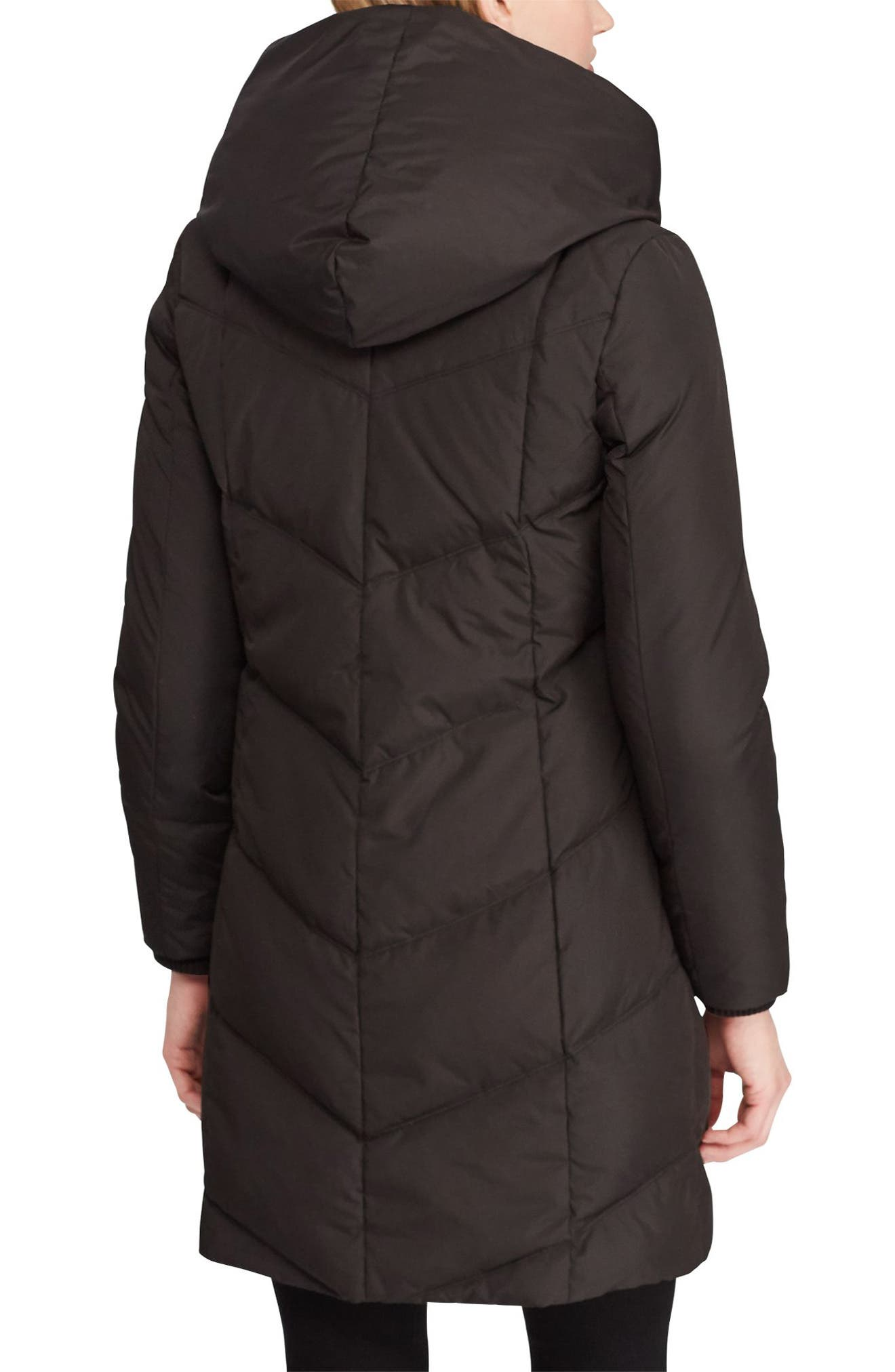 LAUREN RALPH LAUREN,                             Pillow Hood Quilted Coat,                             Alternate thumbnail 2, color,                             BLACK