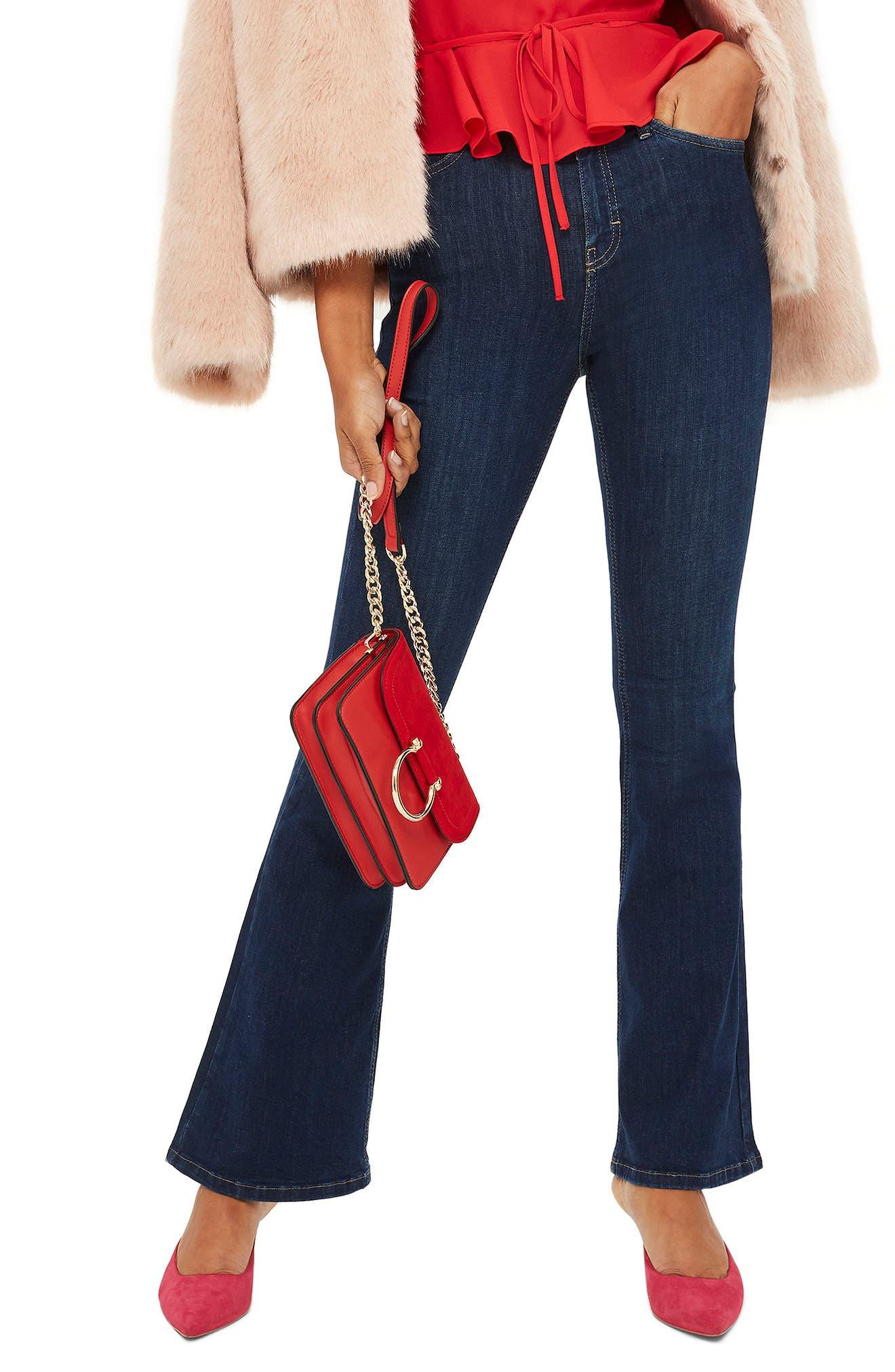 Jamie Petite Flared Jeans,                         Main,                         color, MID DENIM