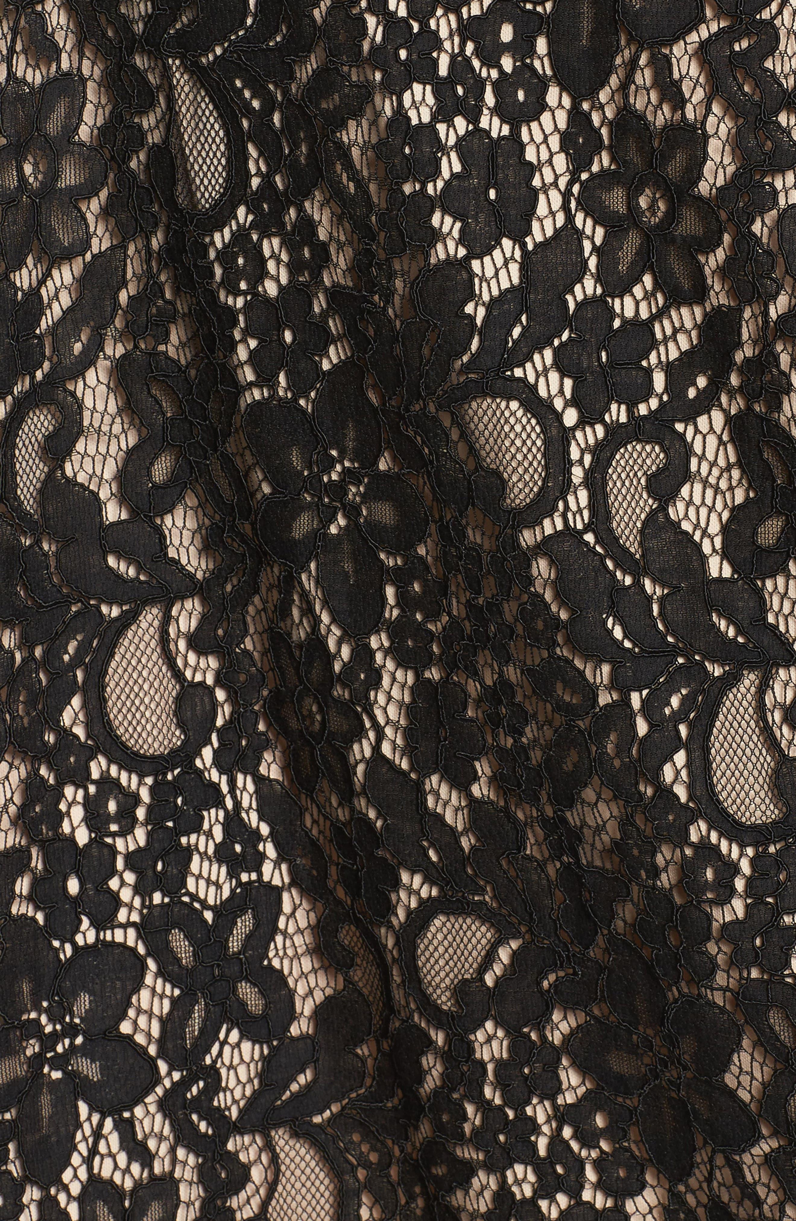 Tie Front Lace Dress,                             Alternate thumbnail 5, color,                             001