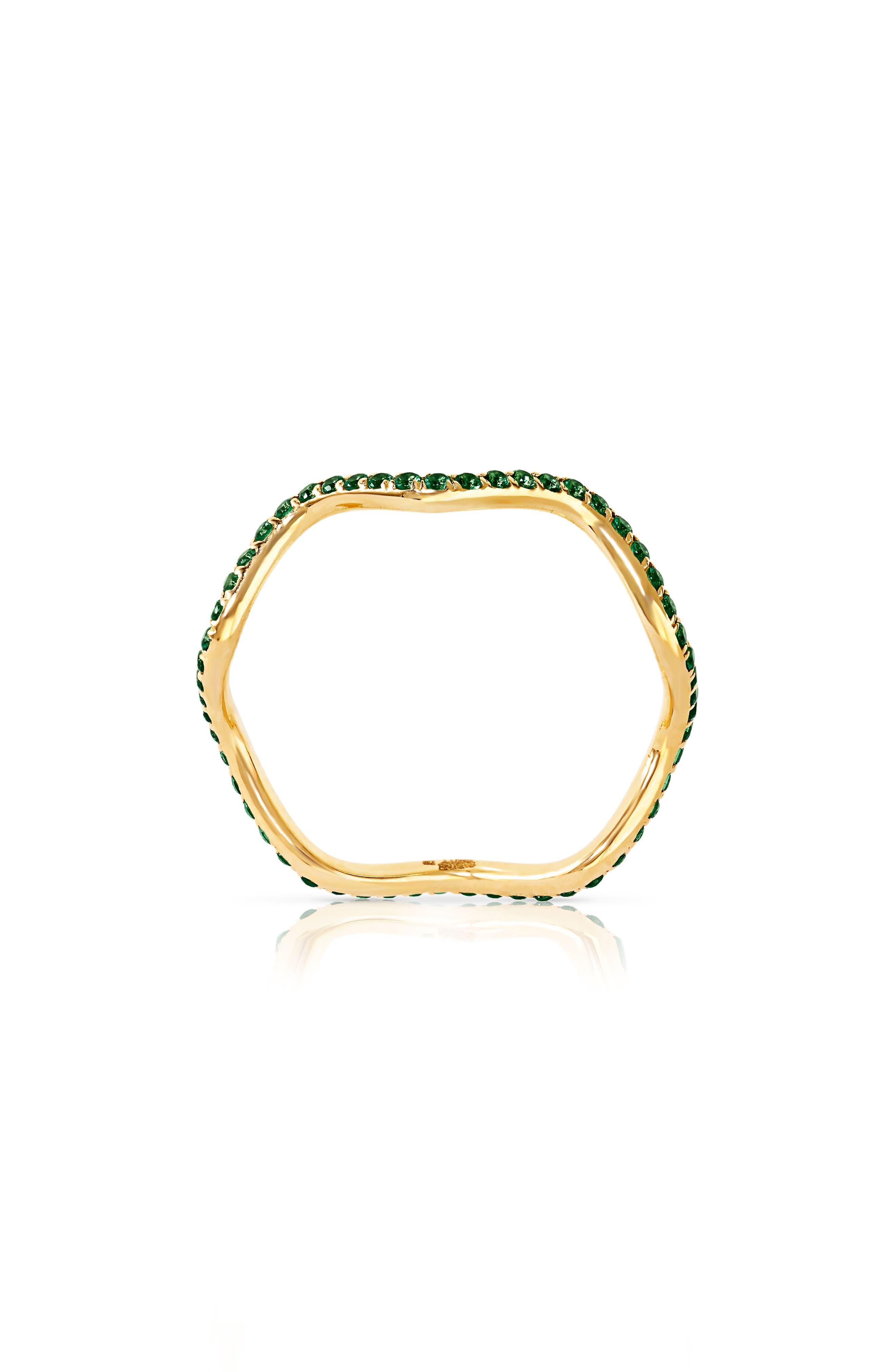 Baby Memphis Tsavorite Wave Band Ring,                         Main,                         color, YELLOW GOLD
