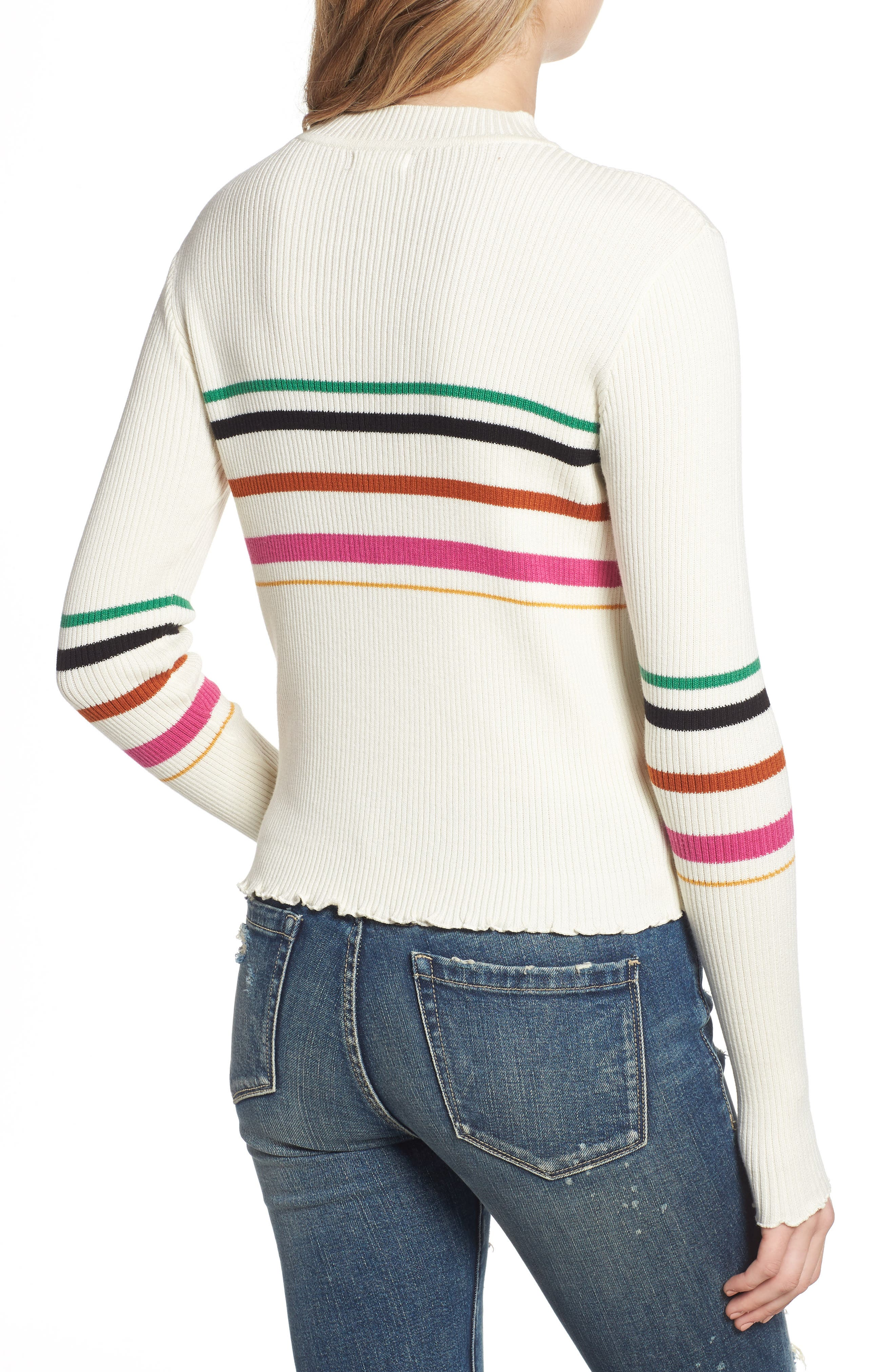 Lettuce Edge Multi Stripe Sweater,                             Alternate thumbnail 2, color,                             IVORY RILEY STRIPE