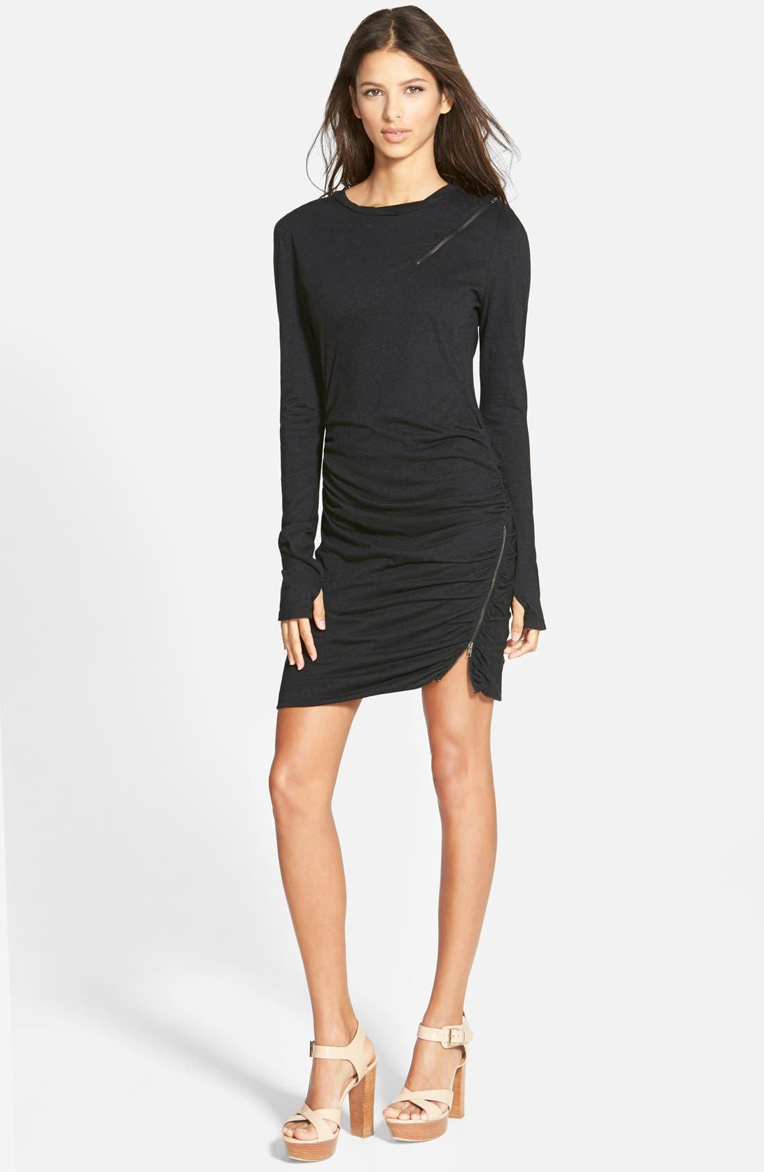 Zip Detail Dress,                             Main thumbnail 1, color,                             001