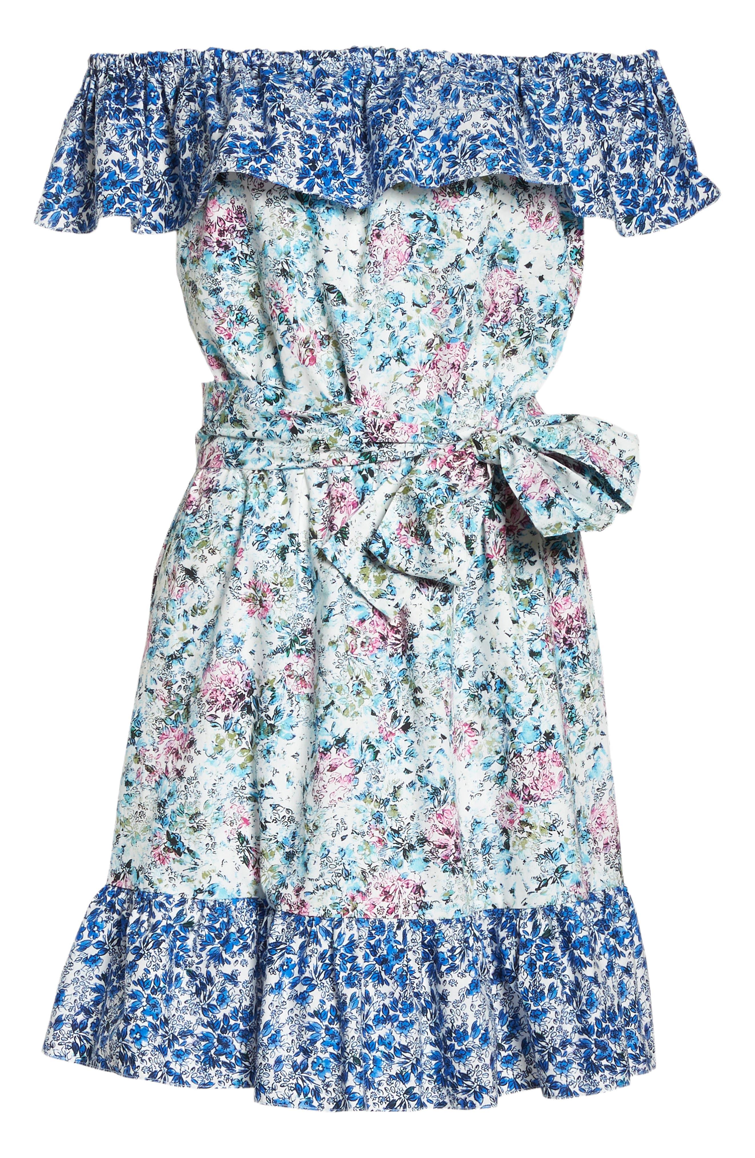 Floral Off the Shoulder Dress,                             Alternate thumbnail 6, color,                             475
