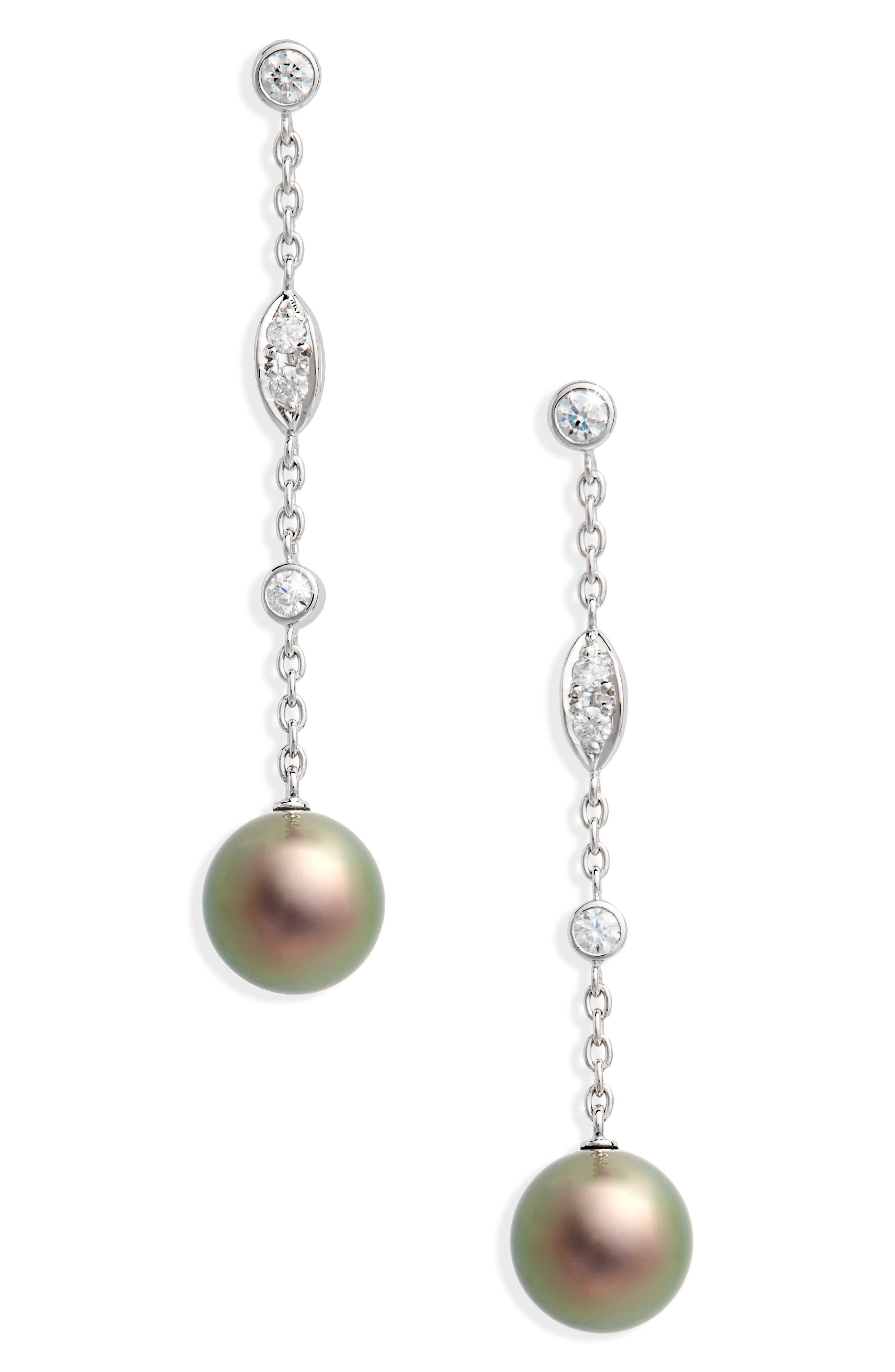 Black South Sea & Diamond Linear Drop Earrings,                         Main,                         color, WHITE GOLD