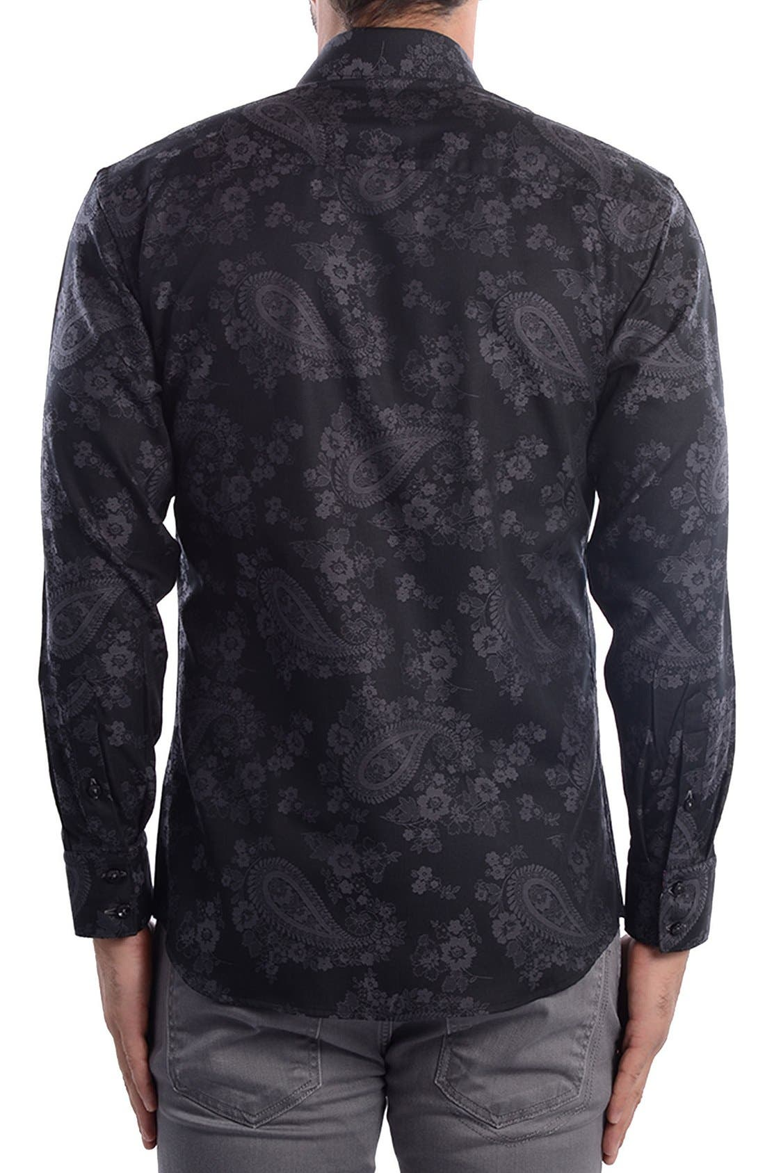 Paisley Modern Fit Sport Shirt,                             Alternate thumbnail 3, color,
