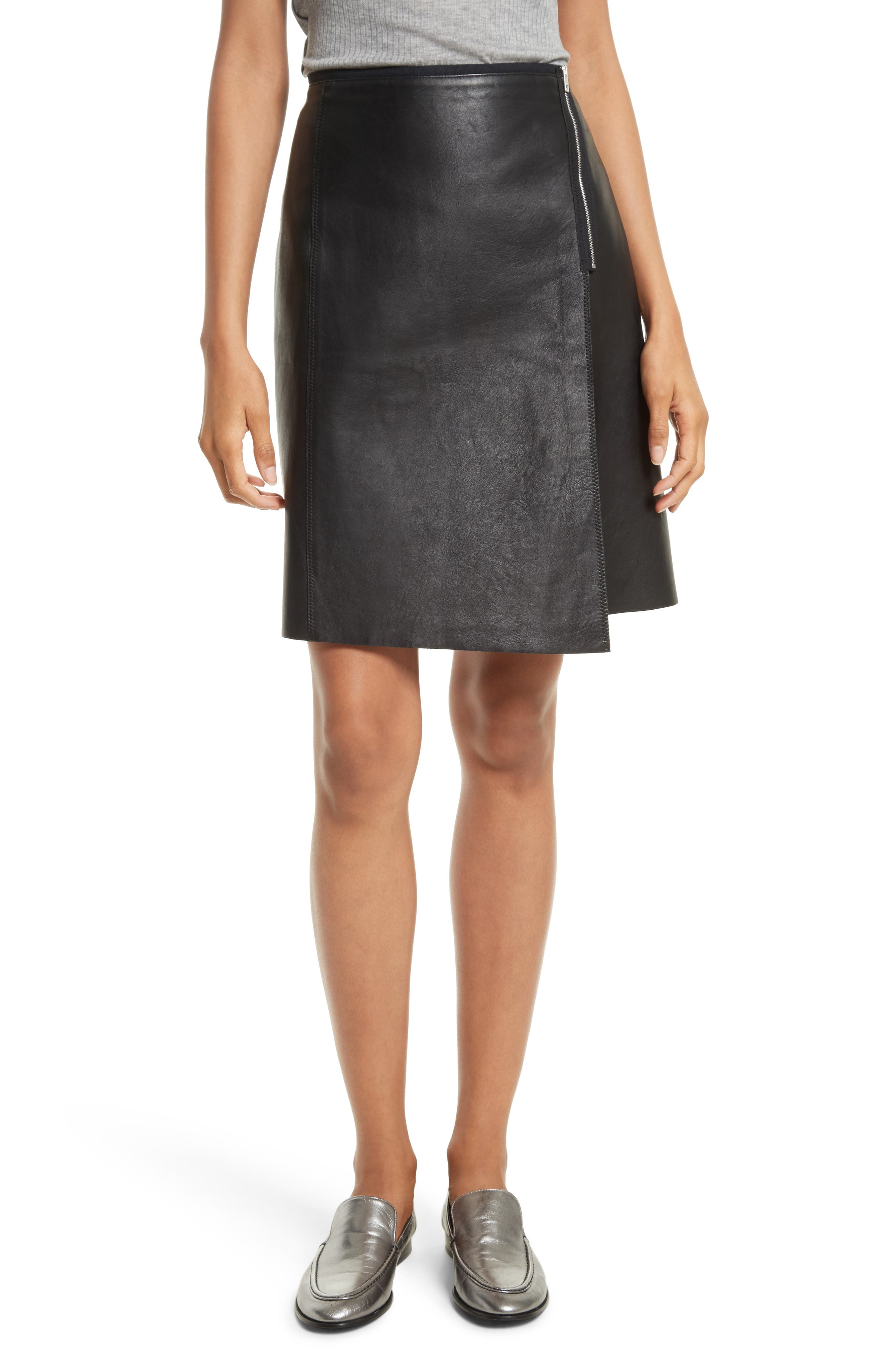 Lloyd Leather Skirt,                         Main,                         color,