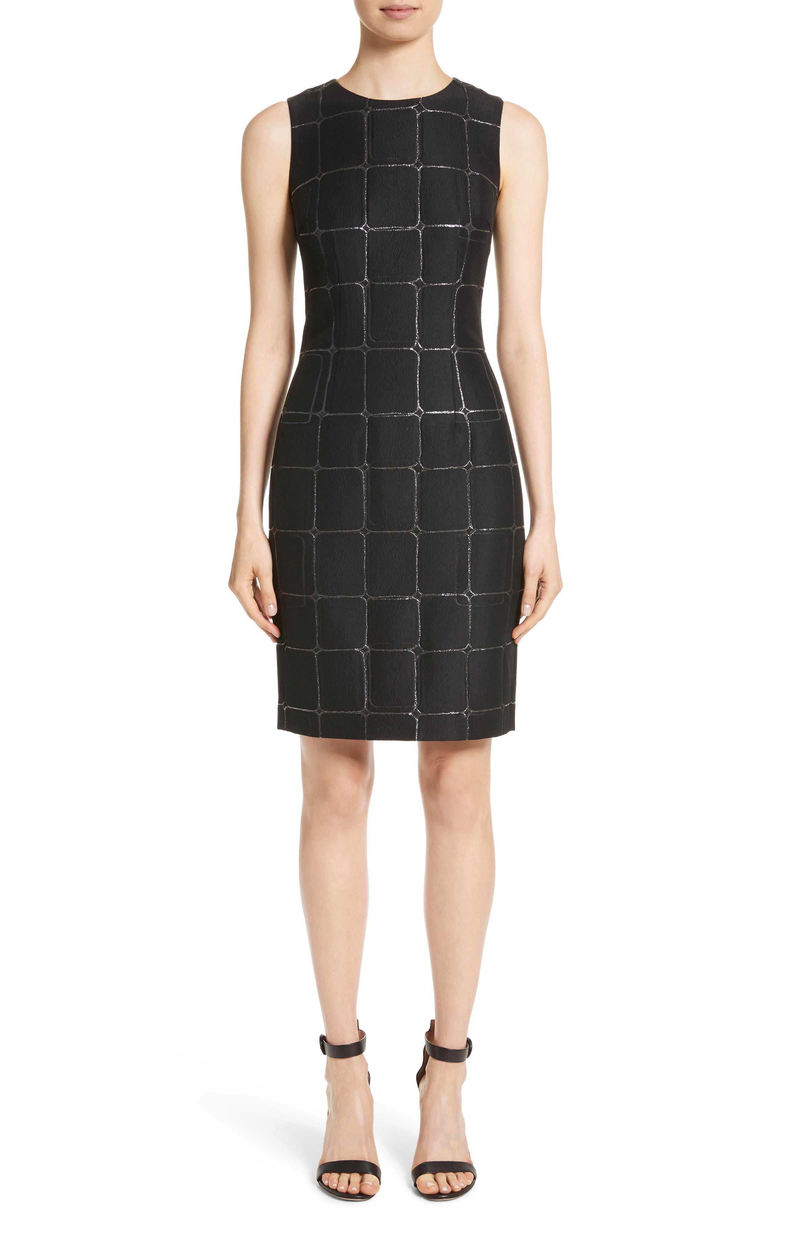 Metallic Jacquard Sheath Dress,                             Main thumbnail 1, color,                             001