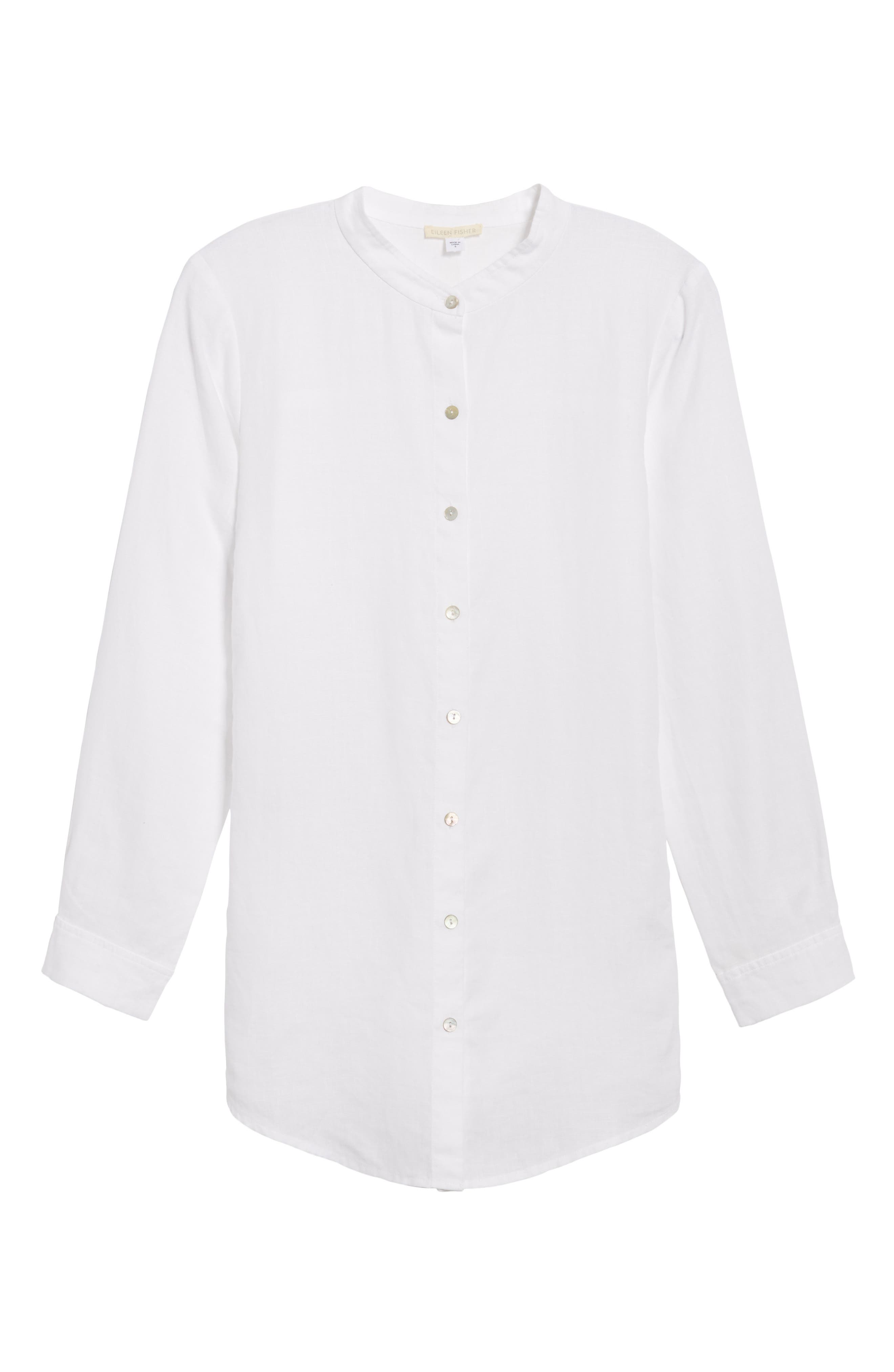 Organic Linen Tunic Shirt,                             Alternate thumbnail 6, color,                             100