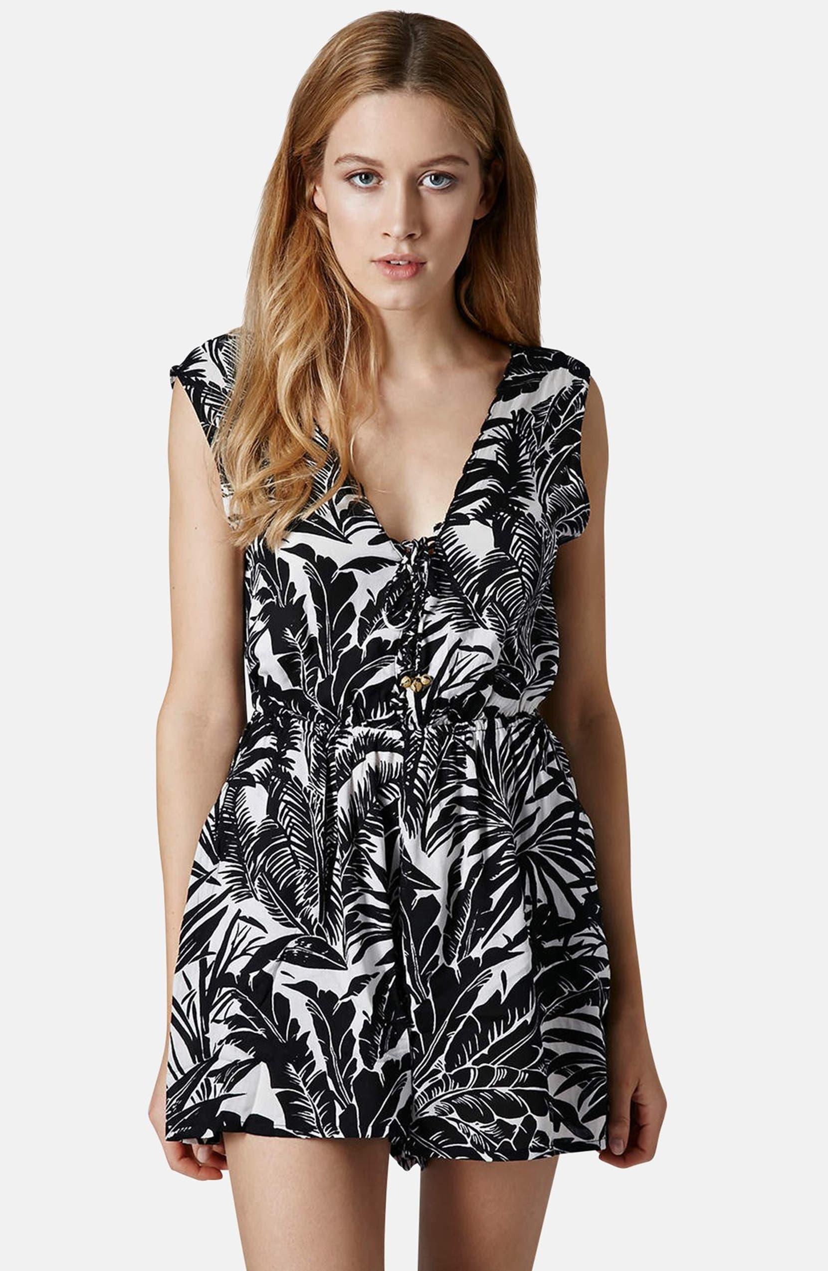 575c2cc9fa2 Topshop Palm Print Lace-Up Romper