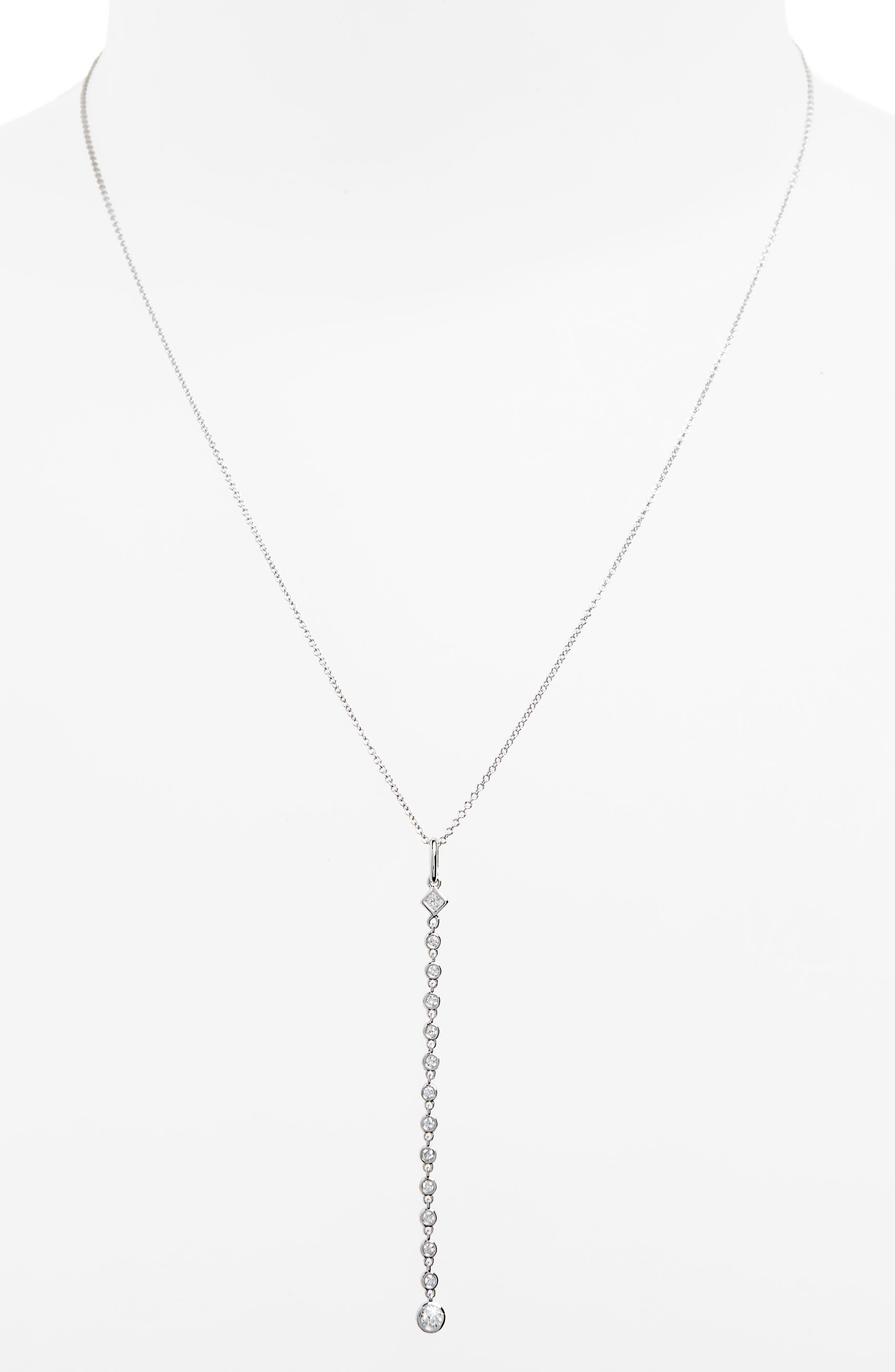 Liora Diamond Y-Necklace,                             Alternate thumbnail 2, color,                             WHITE GOLD