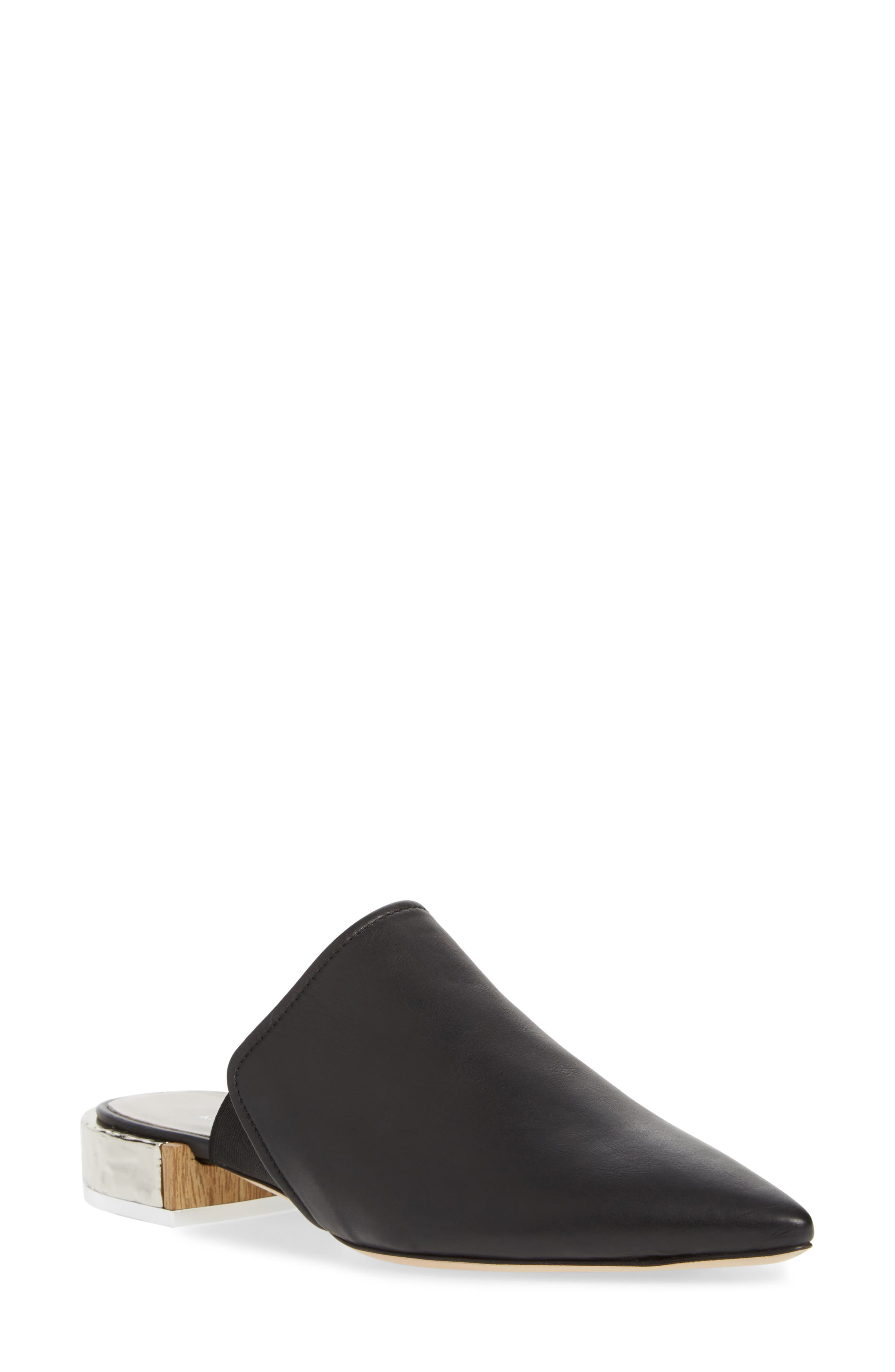 Pointed Toe Mule,                             Main thumbnail 1, color,                             BLACK LEATHER