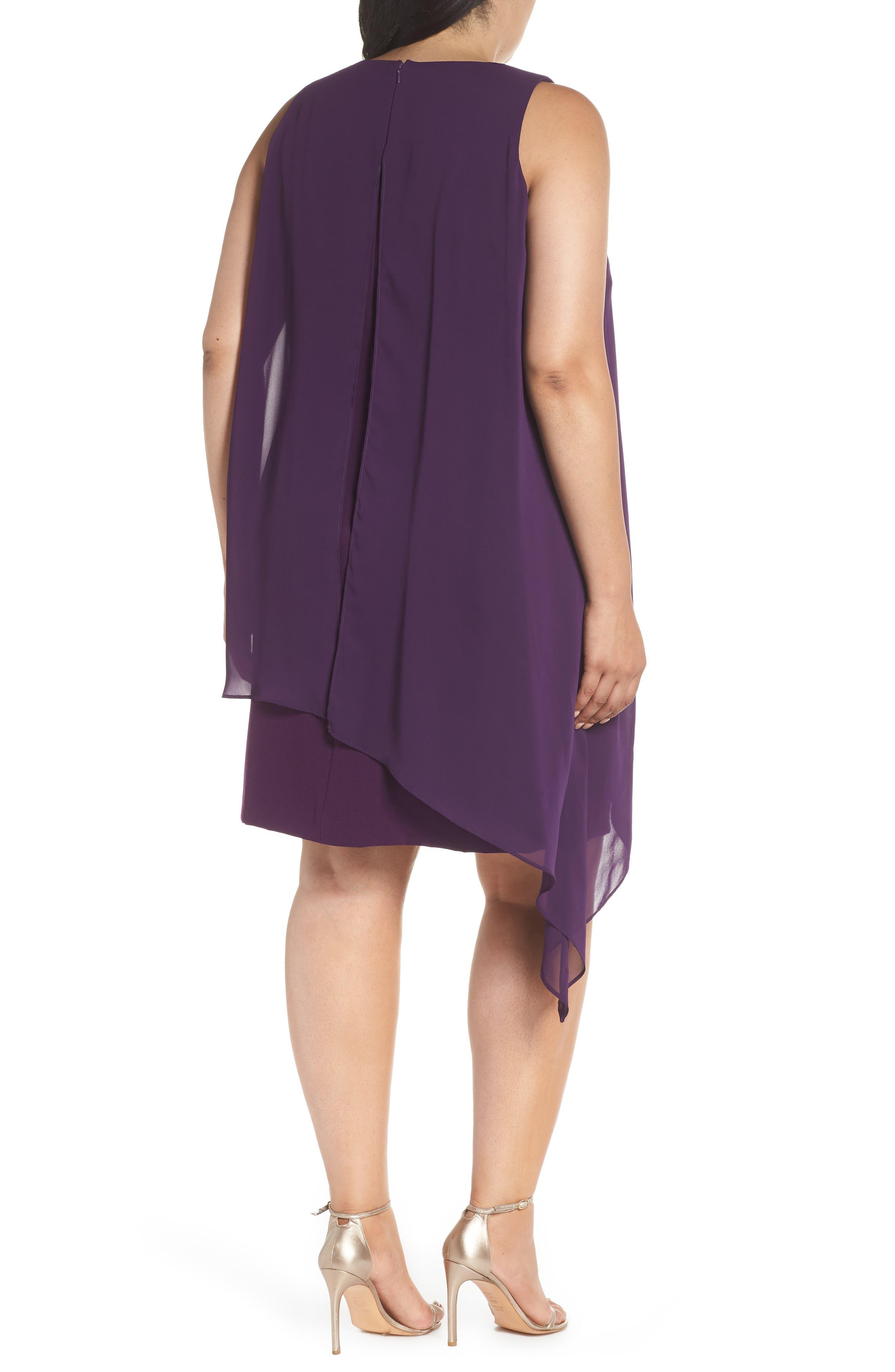 Sleeveless Overlay Crepe Sheath Dress,                             Alternate thumbnail 2, color,                             515