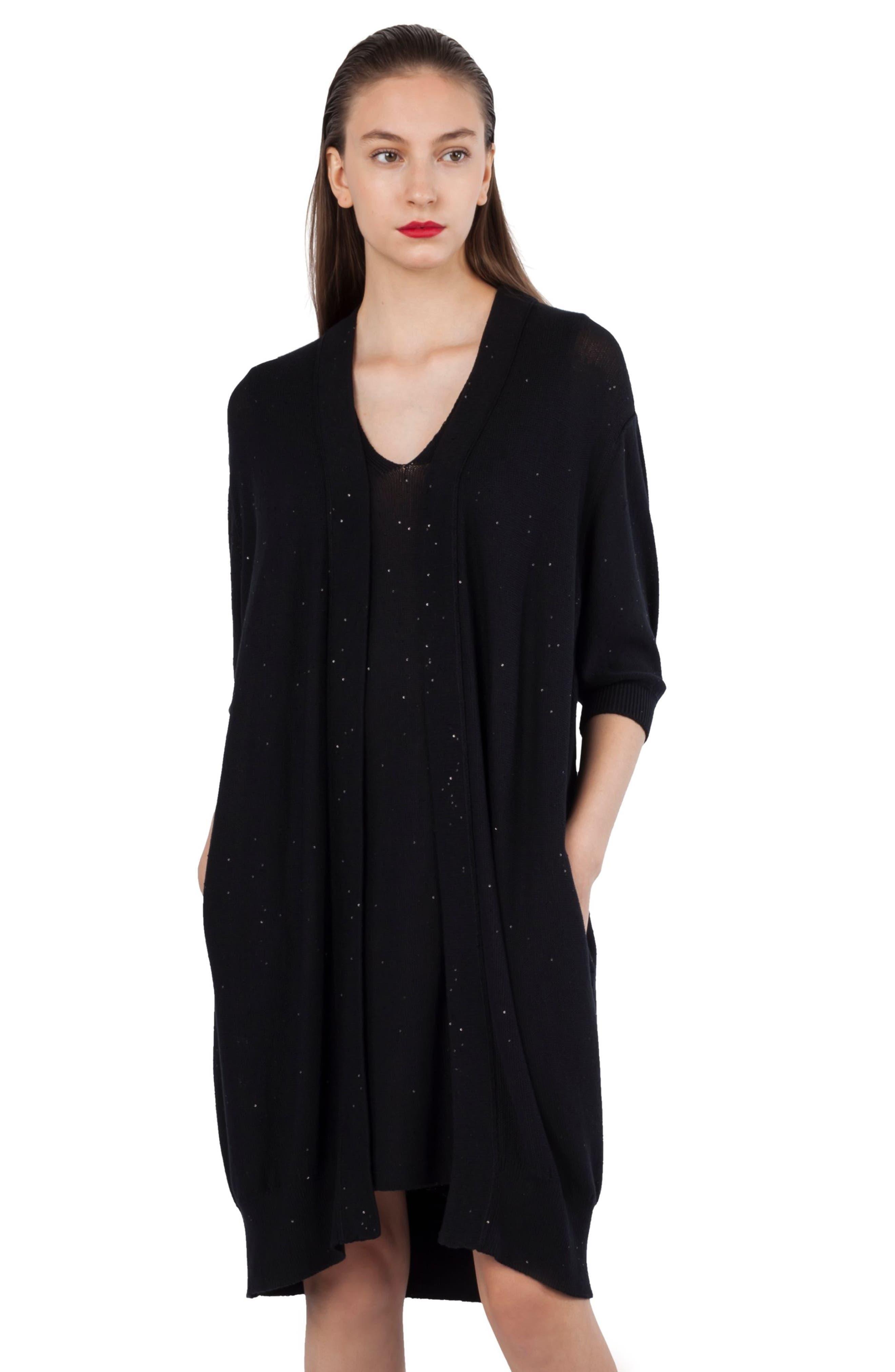 Sequin Knit Silk & Cotton Dress,                             Alternate thumbnail 4, color,                             009