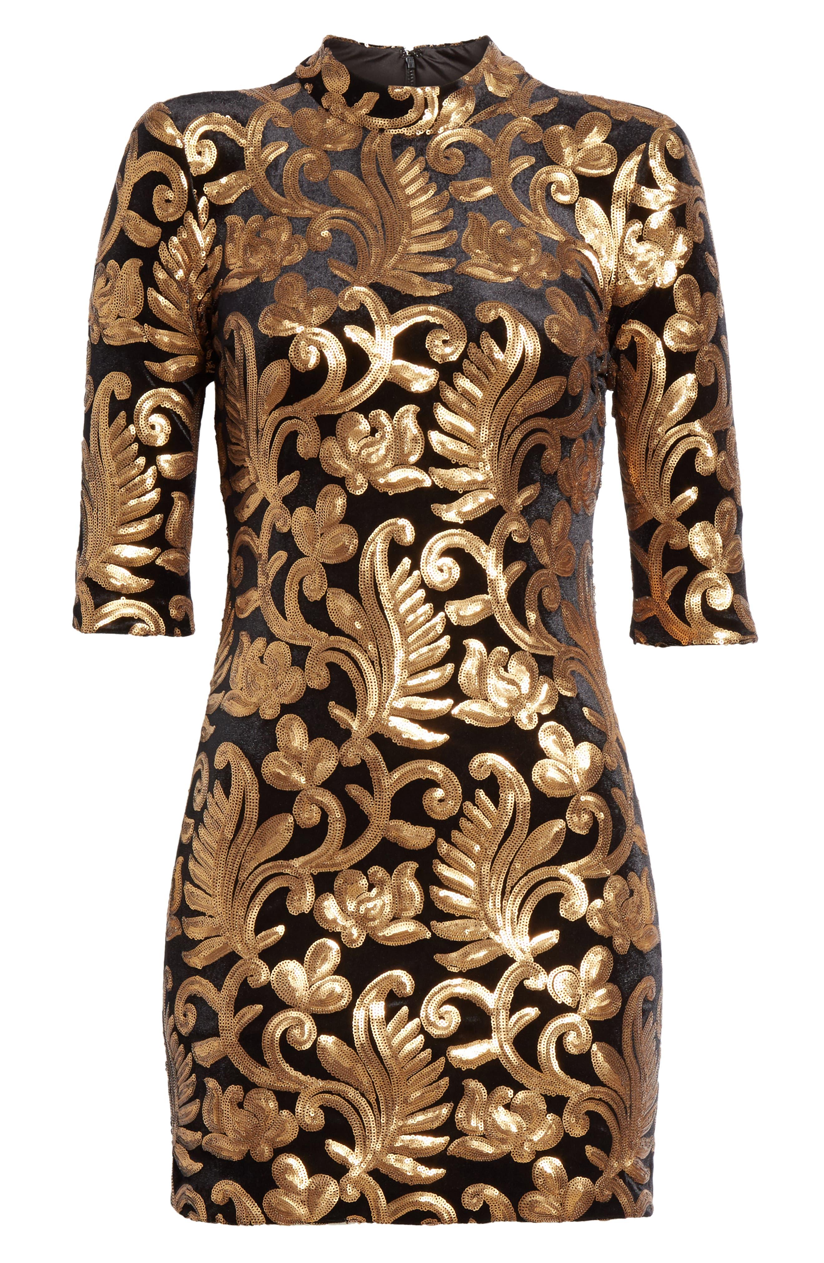 Inka Sequin Flora Dress,                             Alternate thumbnail 7, color,                             001
