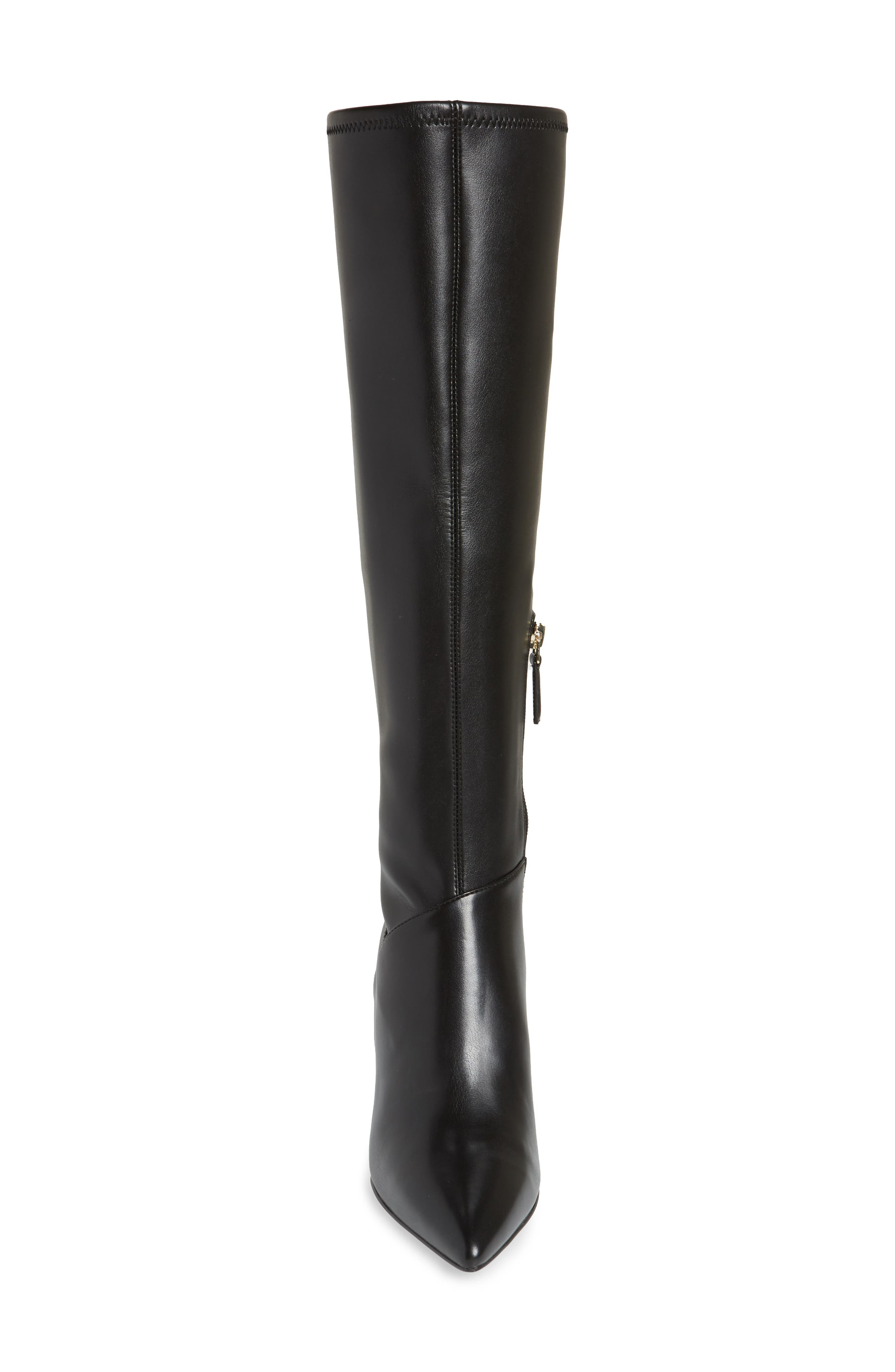 Chelsis Knee High Boot,                             Alternate thumbnail 4, color,                             BLACK FAUX LEATHER