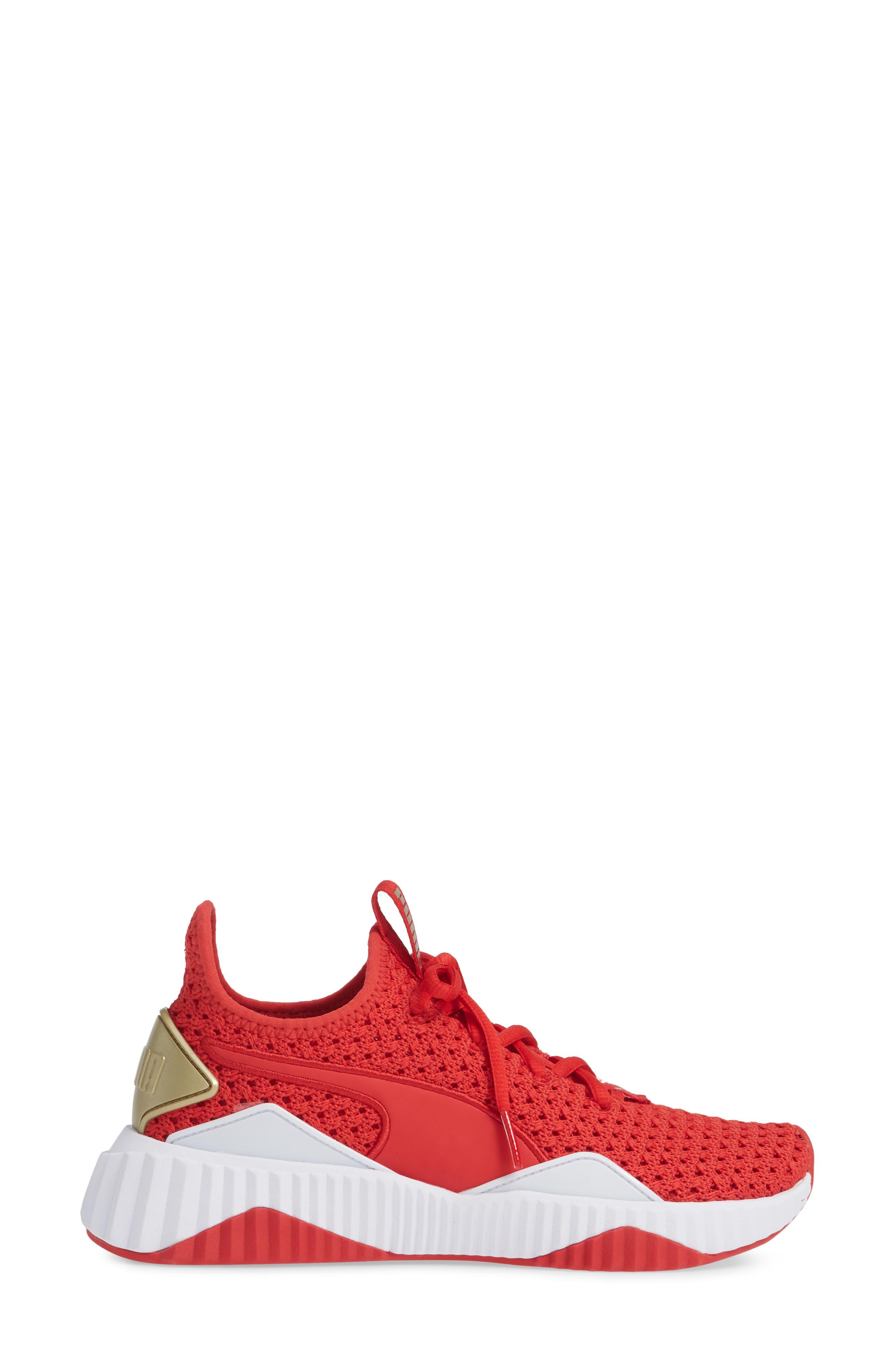 Defy Varsity Sneaker,                             Alternate thumbnail 3, color,                             RIBBON RED/ METALLIC GOLD