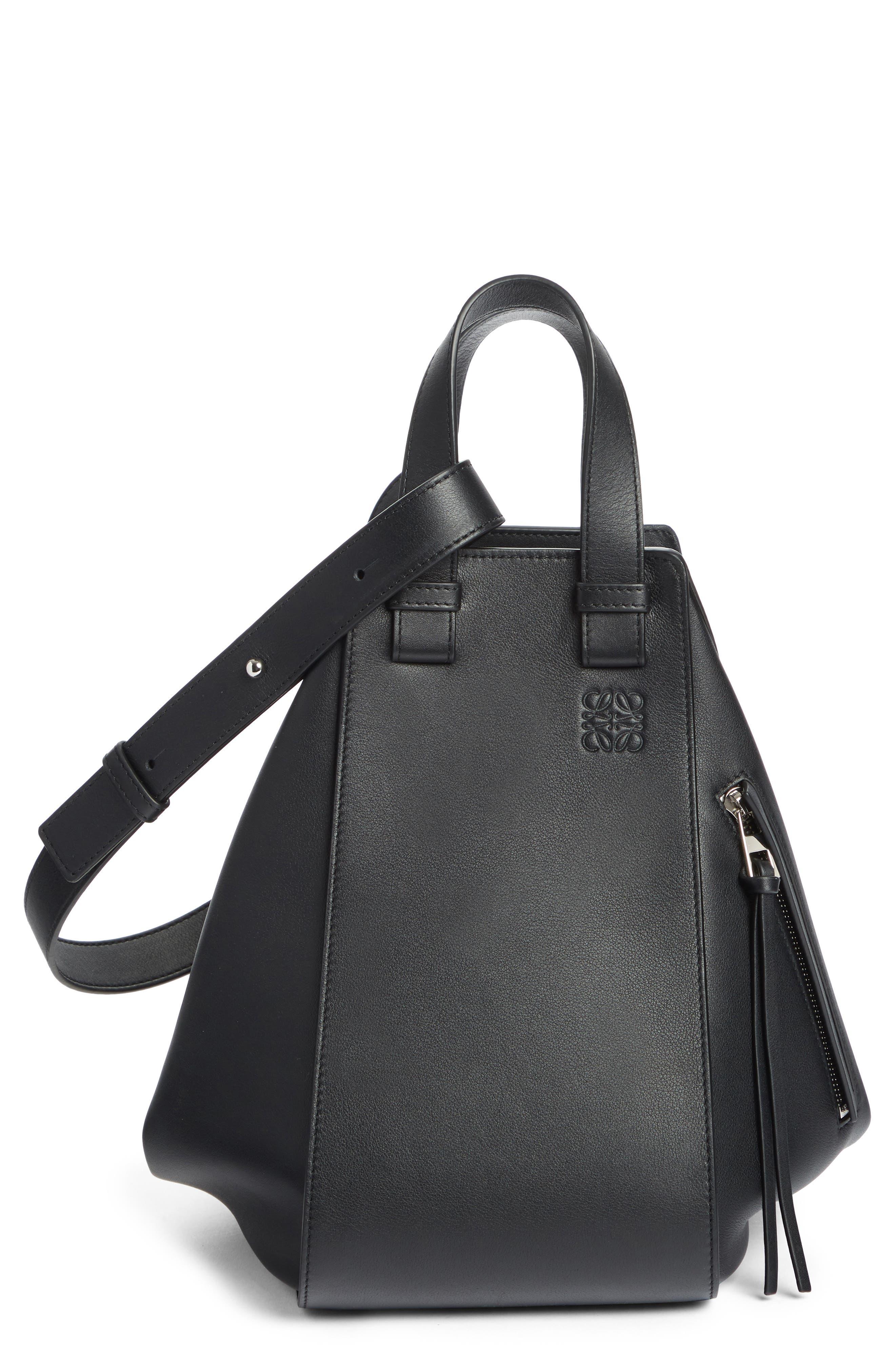 Medium Hammock Calfskin Leather Shoulder Bag,                         Main,                         color, BLACK